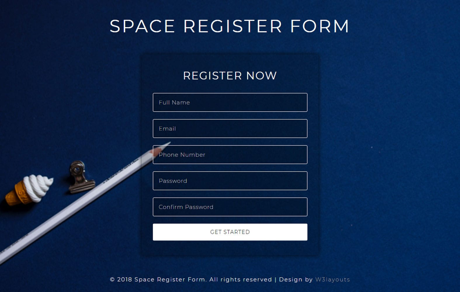 Space Register Form Flat Responsive Widget Template Mobile website template Free