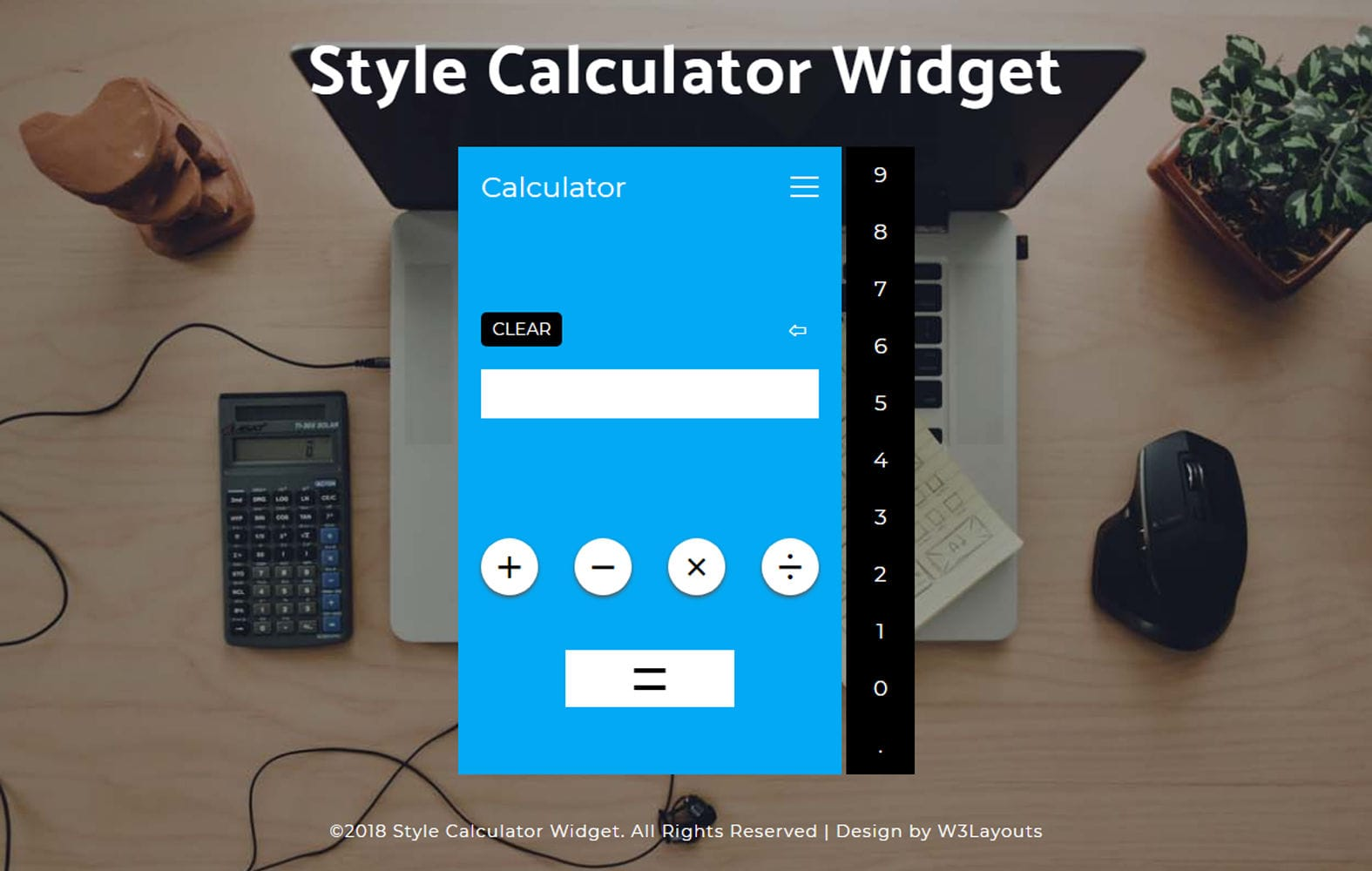 Style Calculator Widget a Flat Responsive Design Mobile website template Free