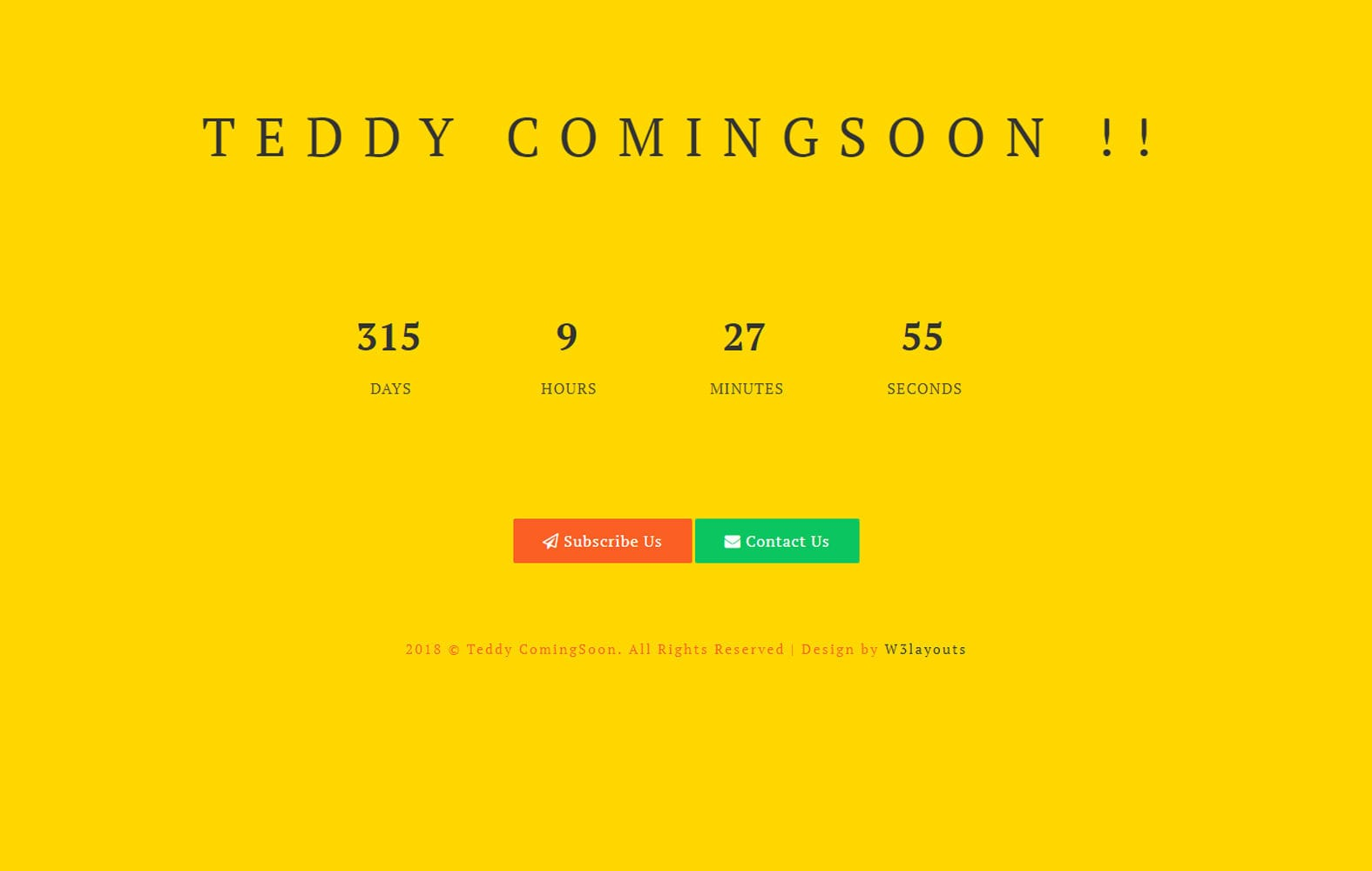 Teddy Coming Soon Flat Responsive Widget Template Mobile website template Free
