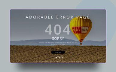 Adorable Error Page Flat Responsive Widget Template