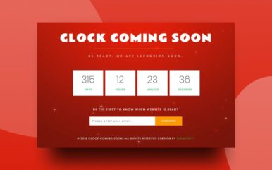 Clock Coming Soon Responsive Widget Template