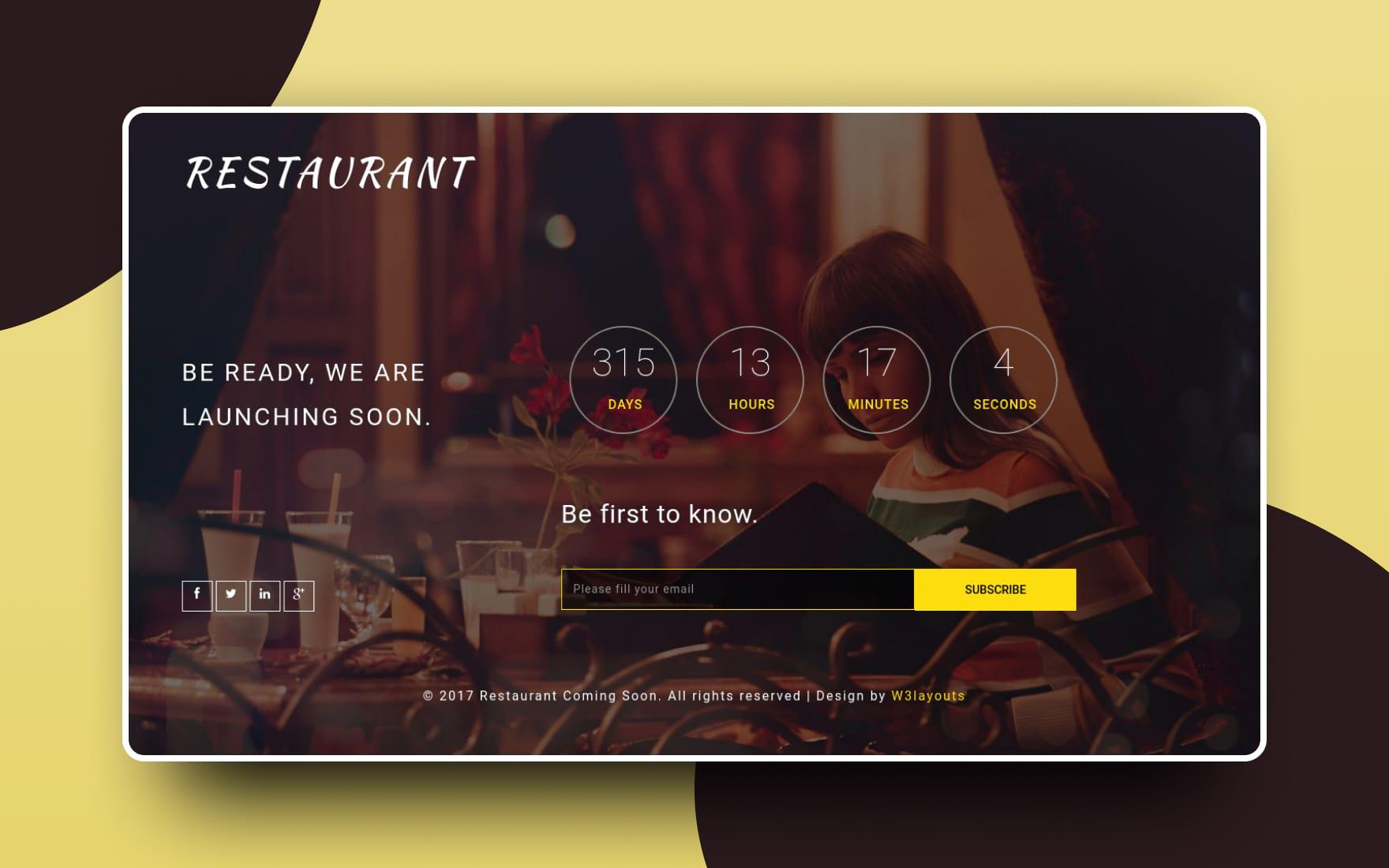 Restaurant Coming Soon a Flat Responsive Widget Template