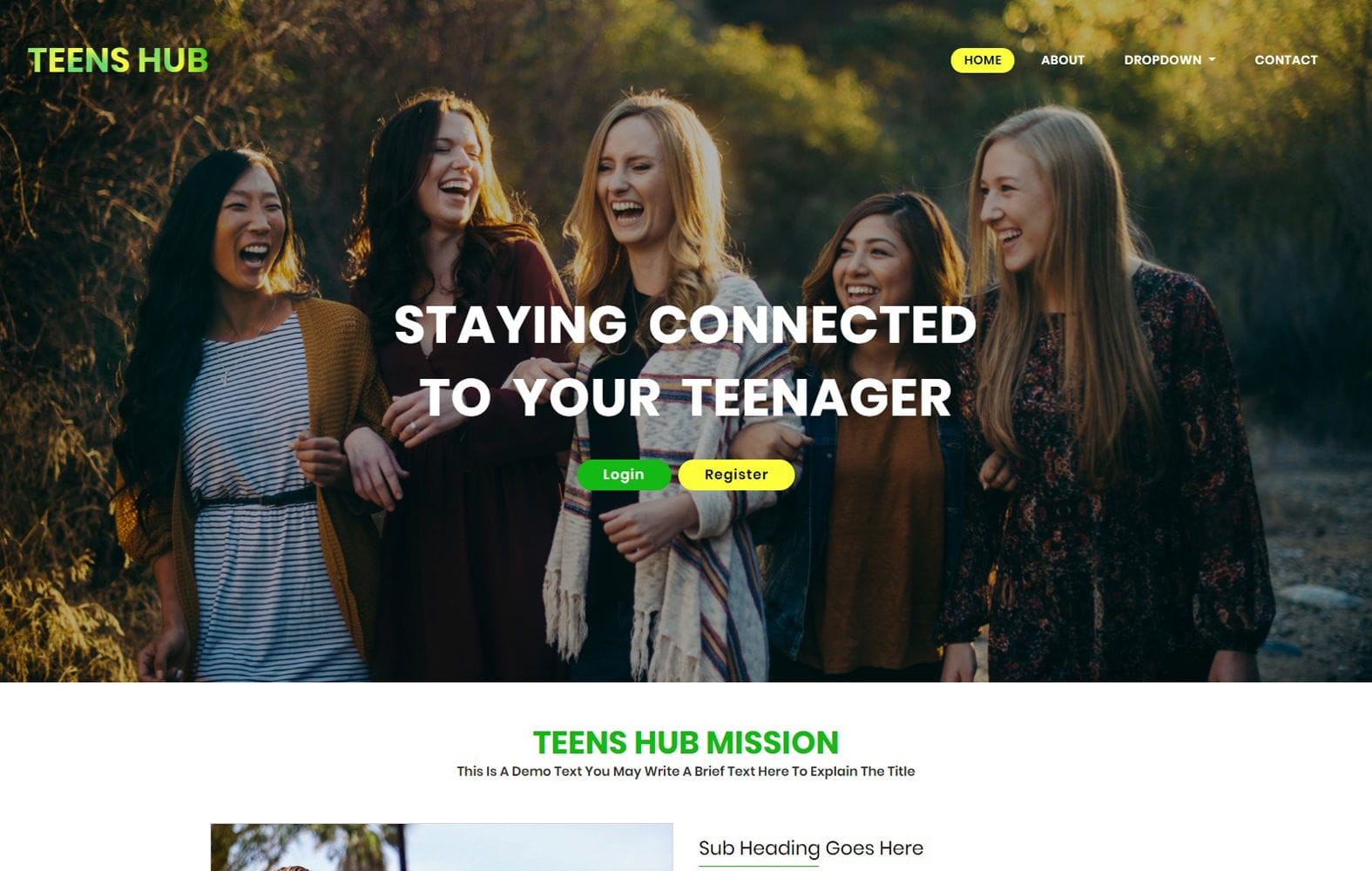 Teens Hub a People Category Bootstrap Web Template Mobile website template Free