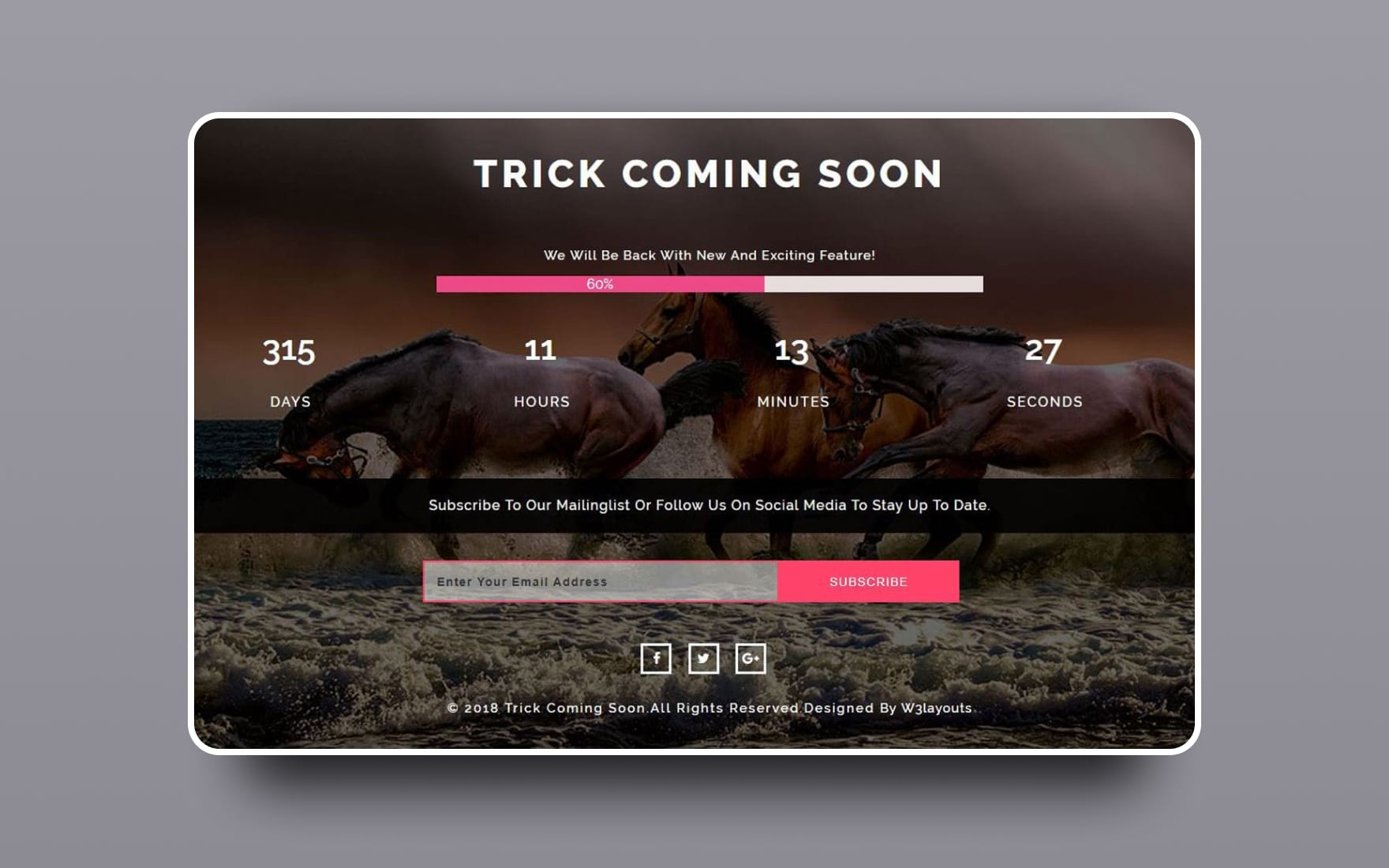 Trick Coming Soon Flat Responsive Widget Template.