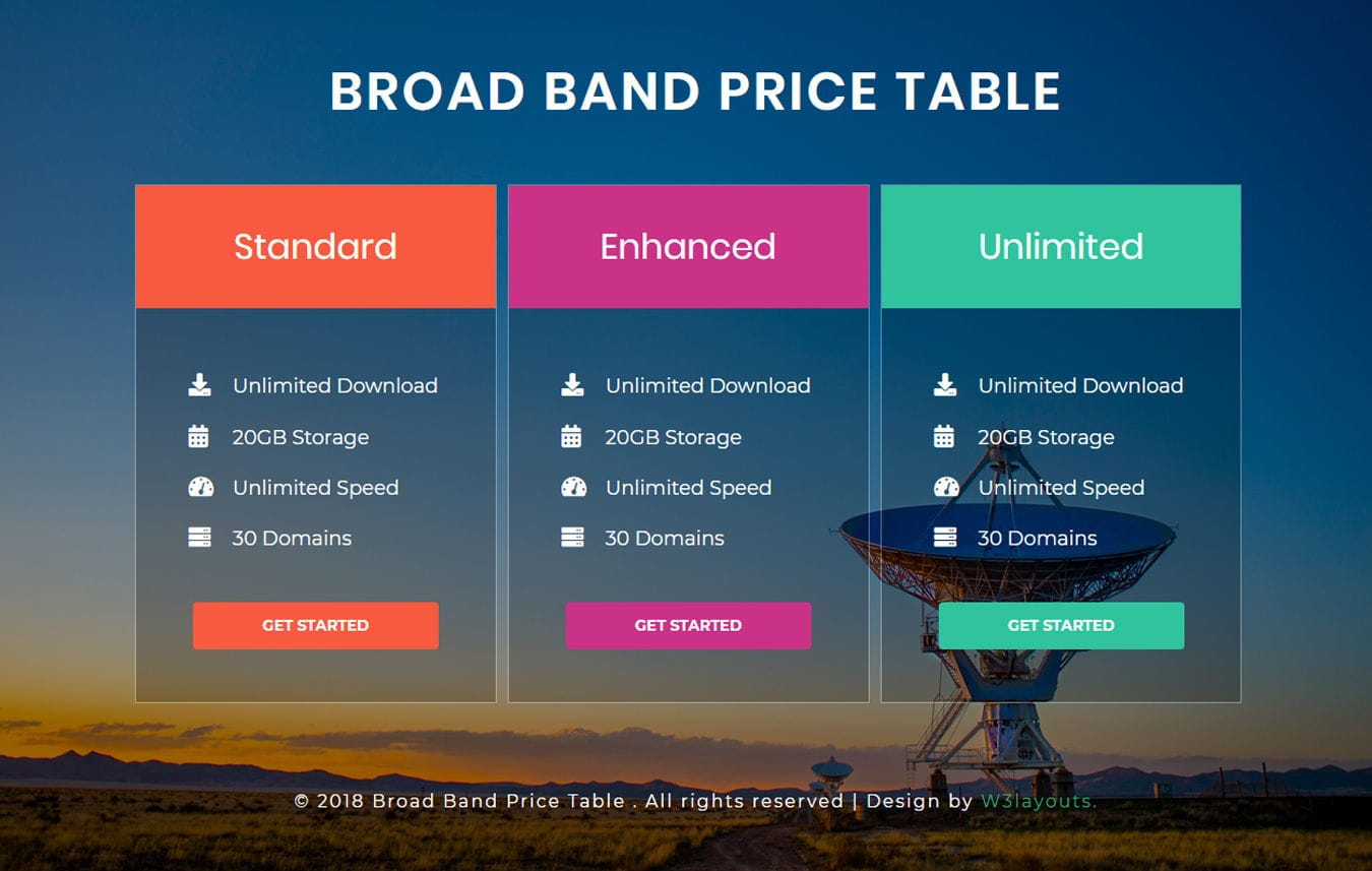 Broad Band Pricing Table Responsive Widget Template. Mobile website template Free