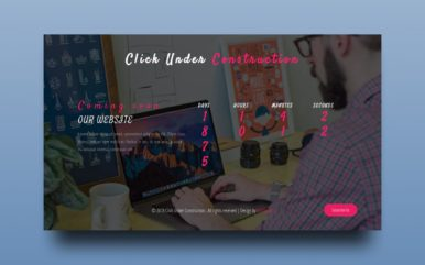 Click Under Construction Flat Responsive Web Page