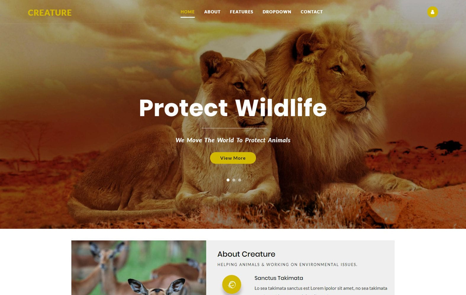 Creature – Animals Category Bootstrap Web Template Mobile website template Free