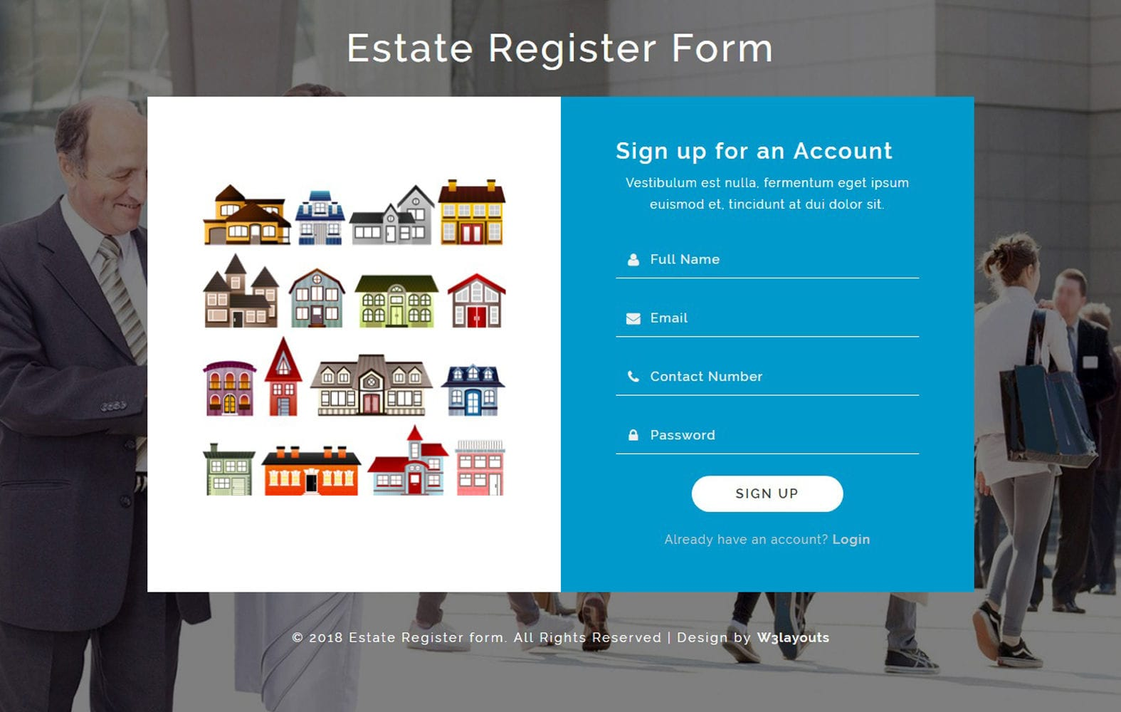 Estate Register Form Flat Responsive Widget Template Mobile website template Free
