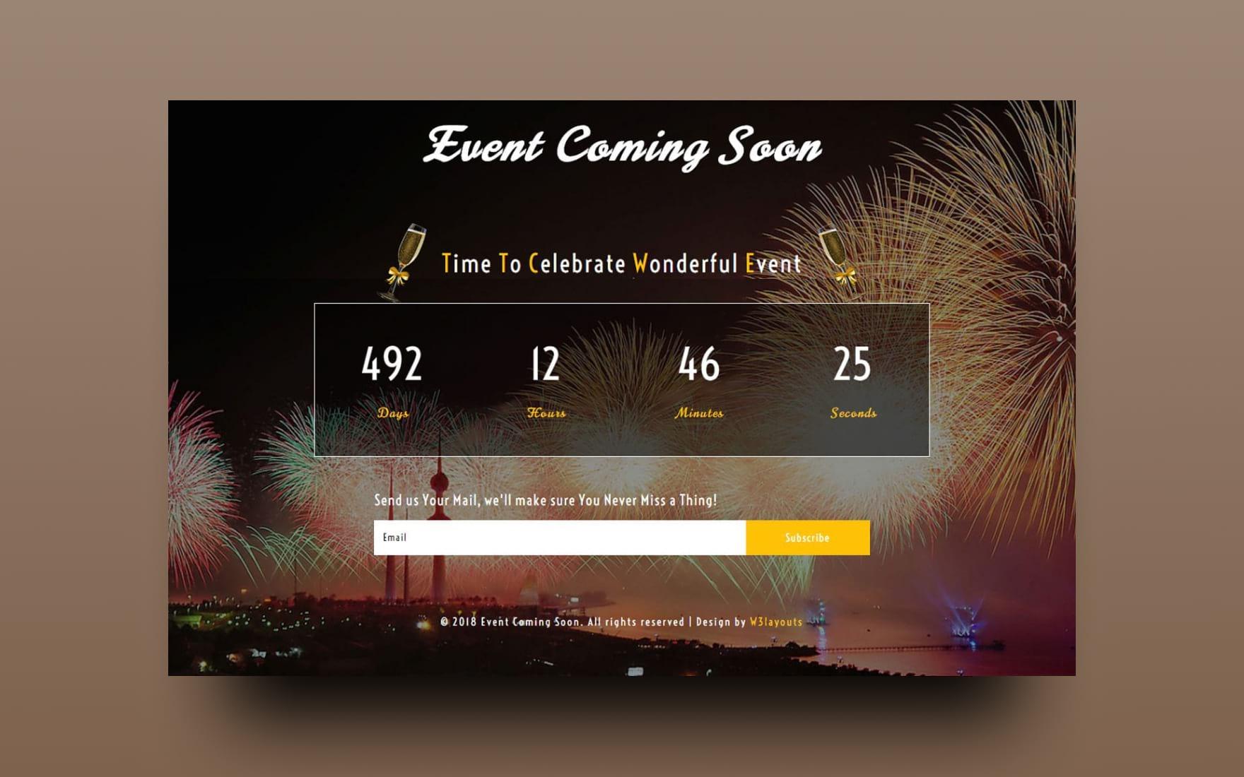 Event Coming Soon Responsive Widget Template