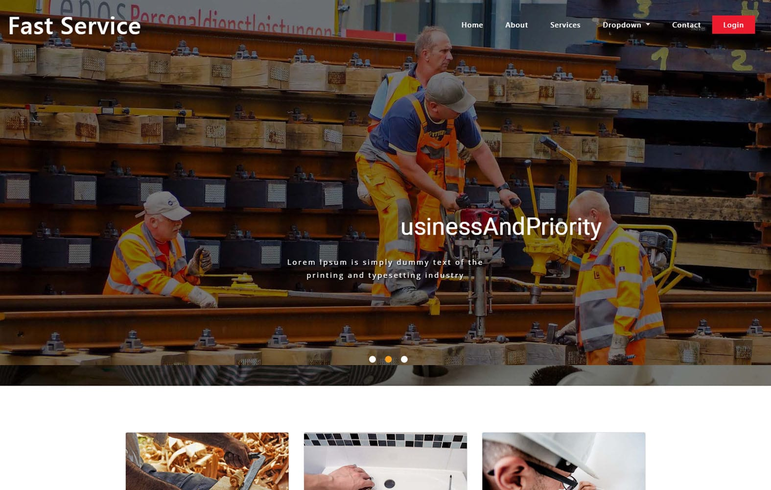 Fast Service Home Services Bootstrap Responsive Web Template Mobile website template Free