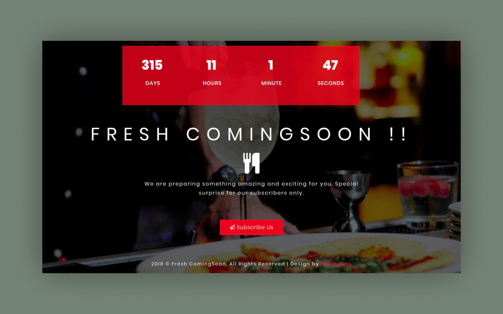 Fresh Coming Soon Flat Responsive Widget Template