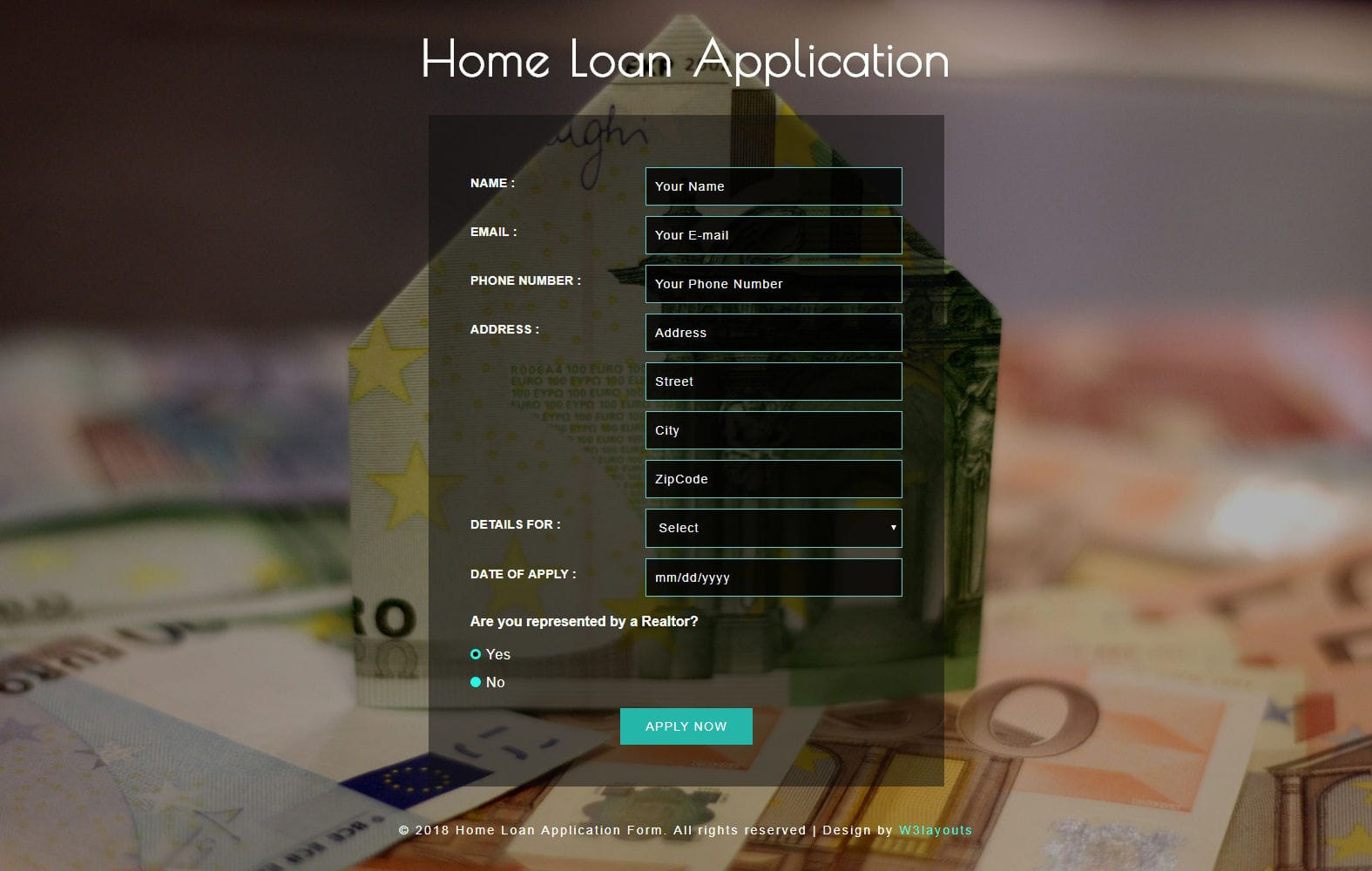 Home Loan Application Form a Flat Responsive Widget Template