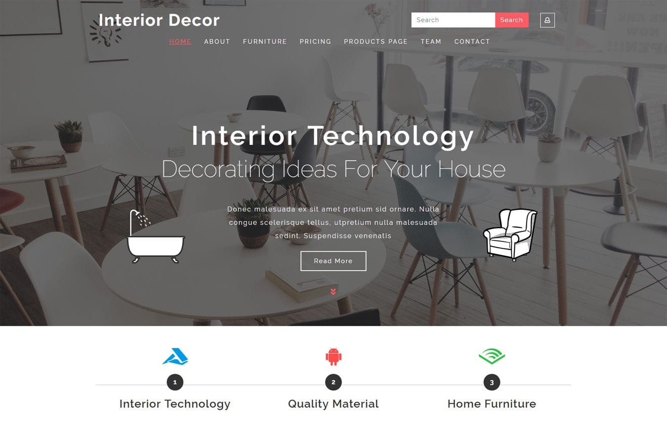 Interior Decor Interior Category Bootstrap Responsive Web Template. Mobile website template Free