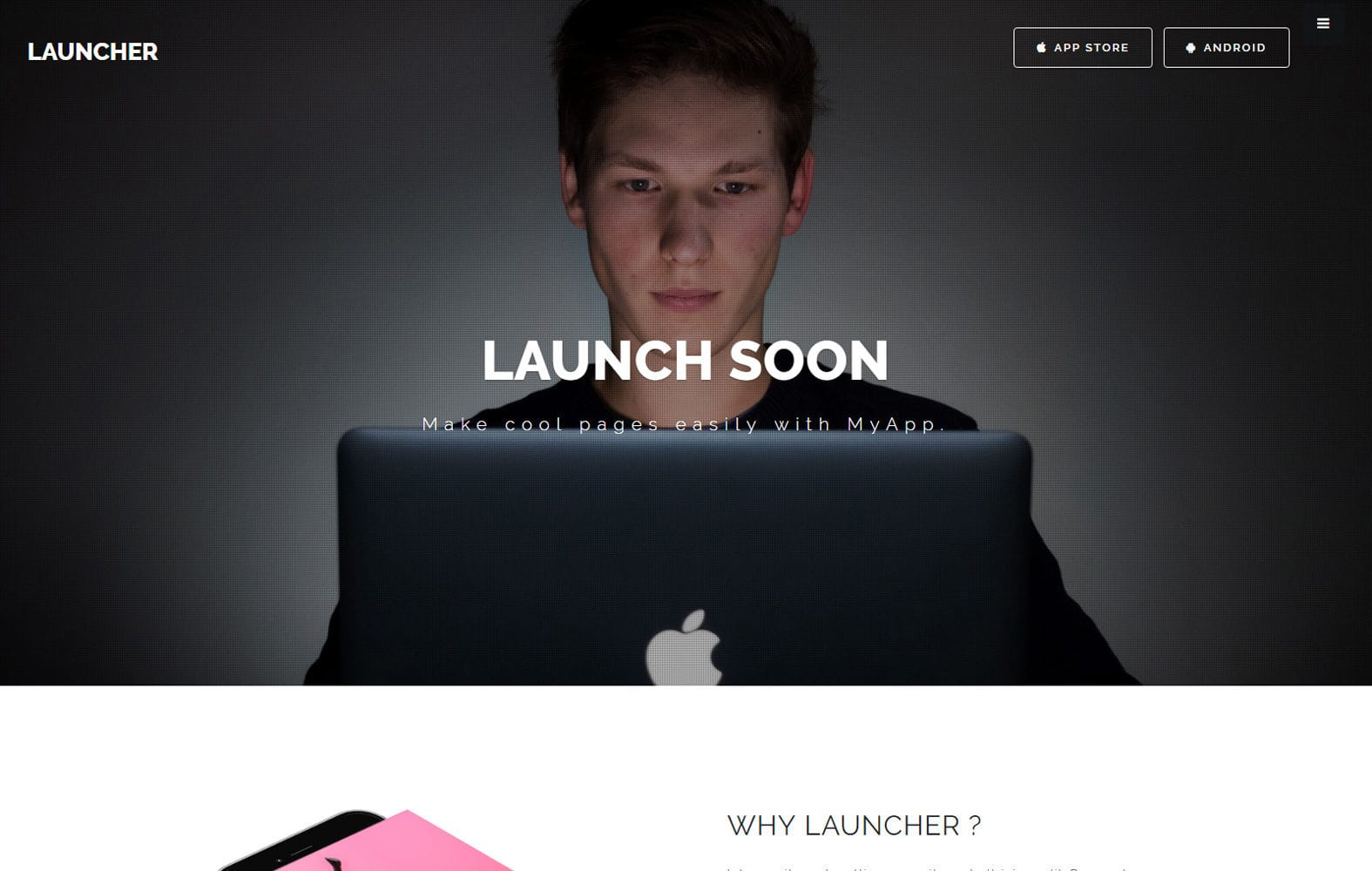 Launcher Landing Page Category Bootstrap Responsive Web Template. Mobile website template Free