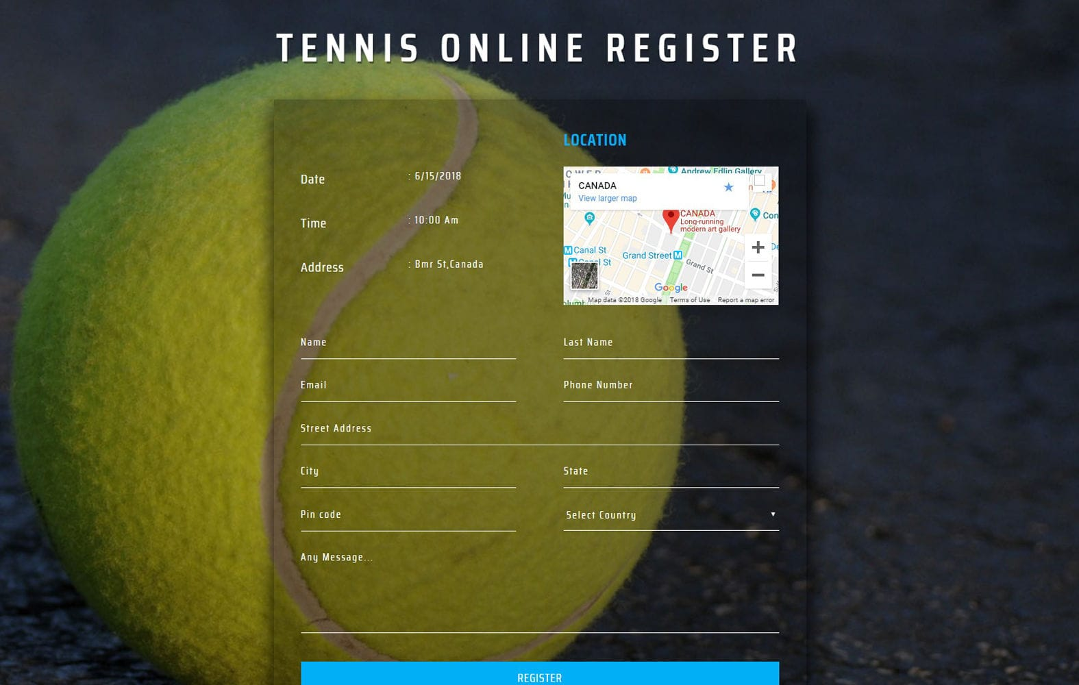 Tennis Online Register Form Flat Responsive Widget Template Mobile website template Free