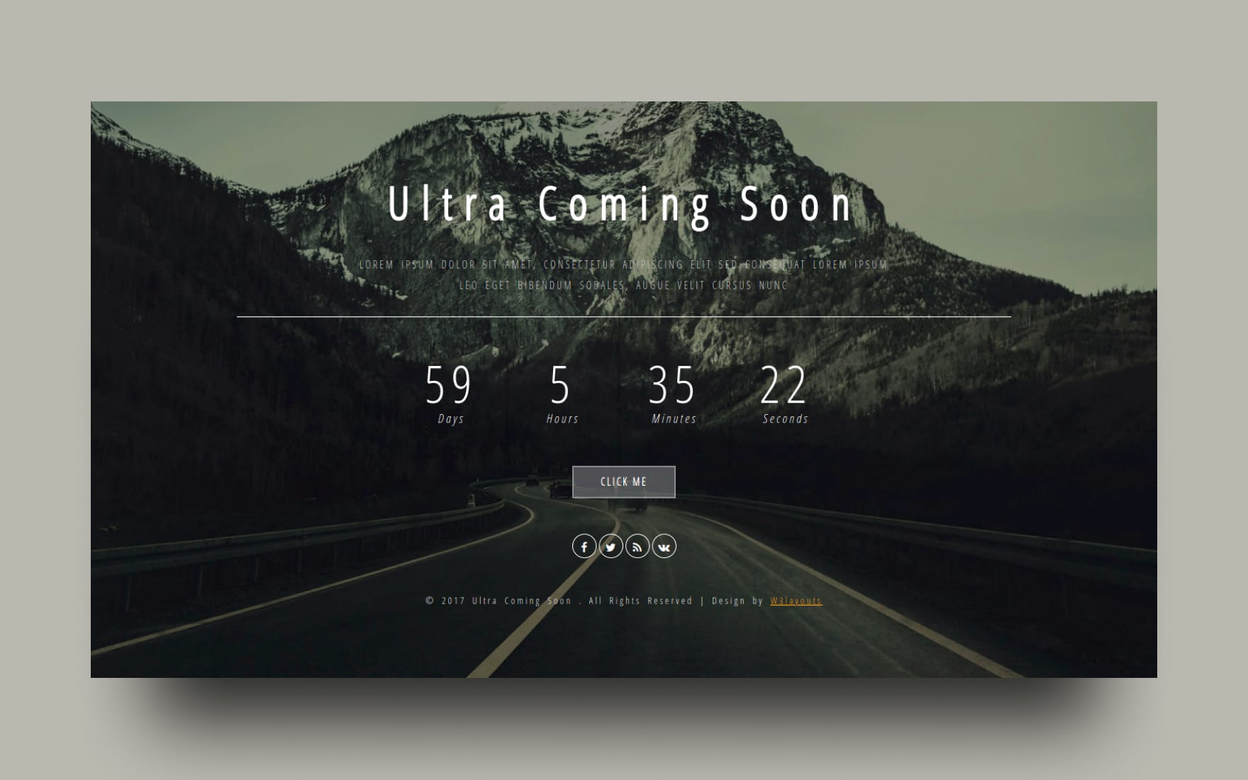 Ultra Coming Soon Flat Responsive Widget Template