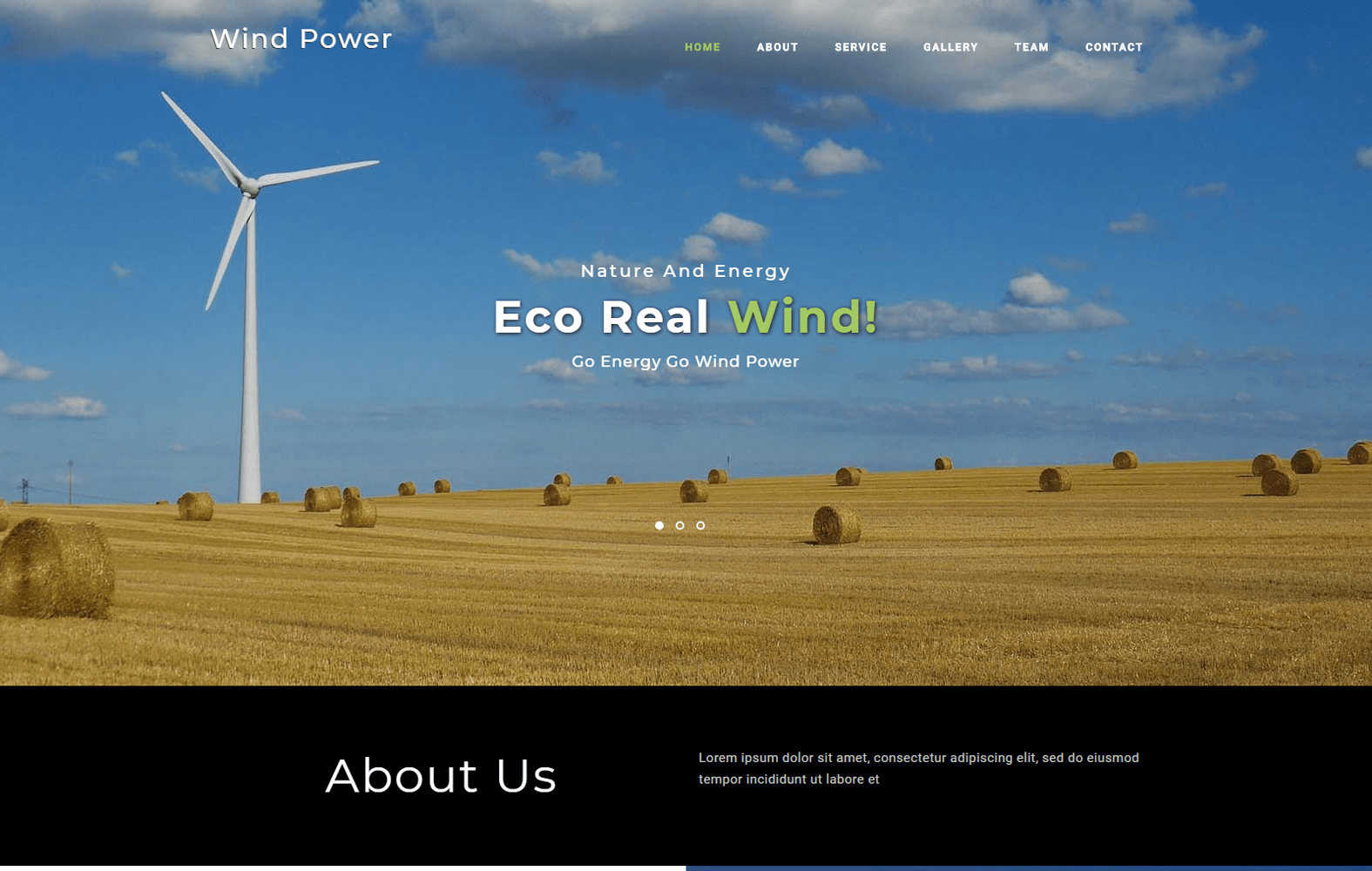 Wind Power an Industrial Category Bootstrap Responsive Web Template Mobile website template Free