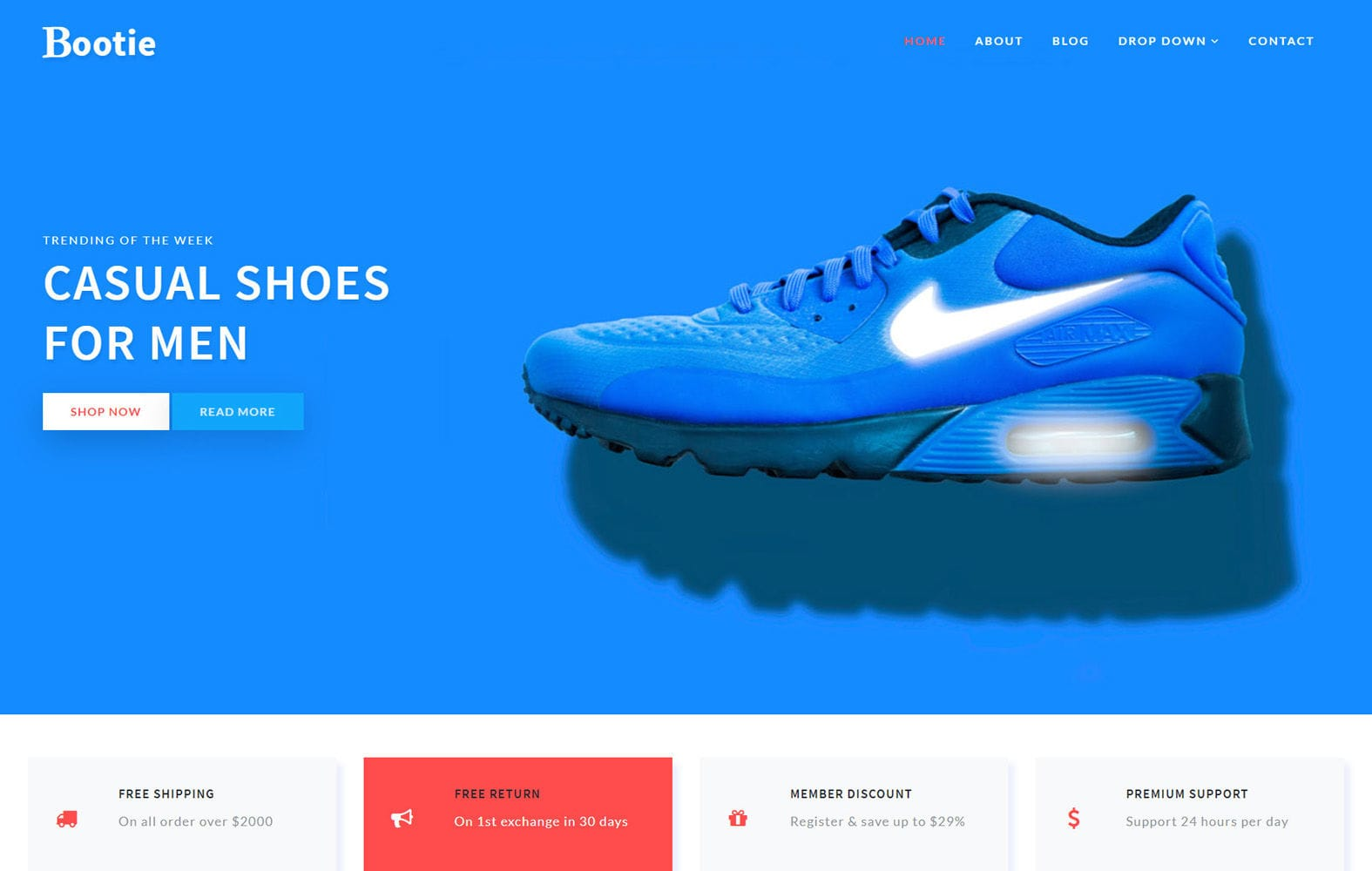 Bootie E commerce Bootstrap Responsive Web Template Mobile website template Free