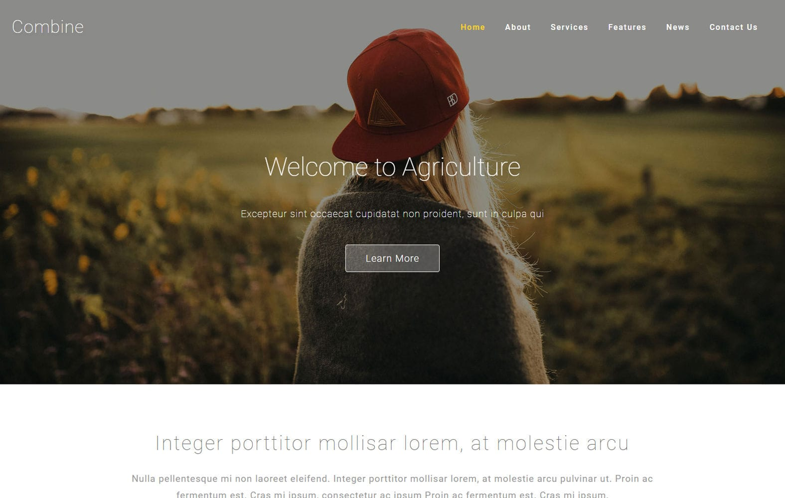 Combine an Agriculture Category Bootstrap Responsive Web Template Mobile website template Free