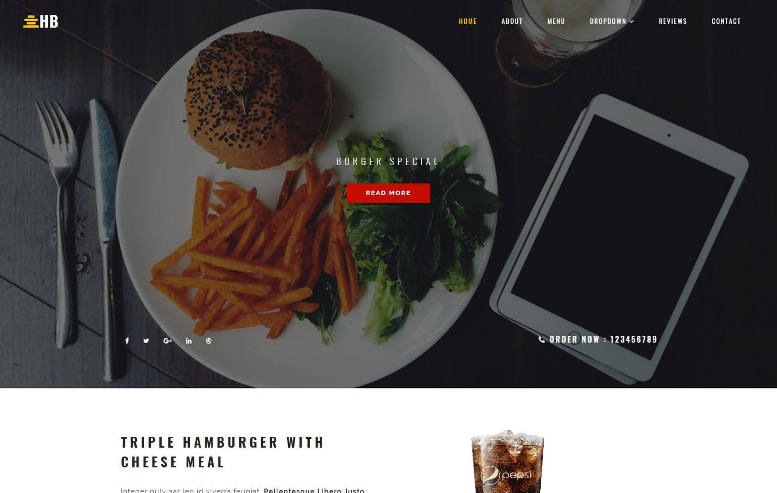 Humburger Restaurants Category Bootstrap Responsive Template Mobile website template Free