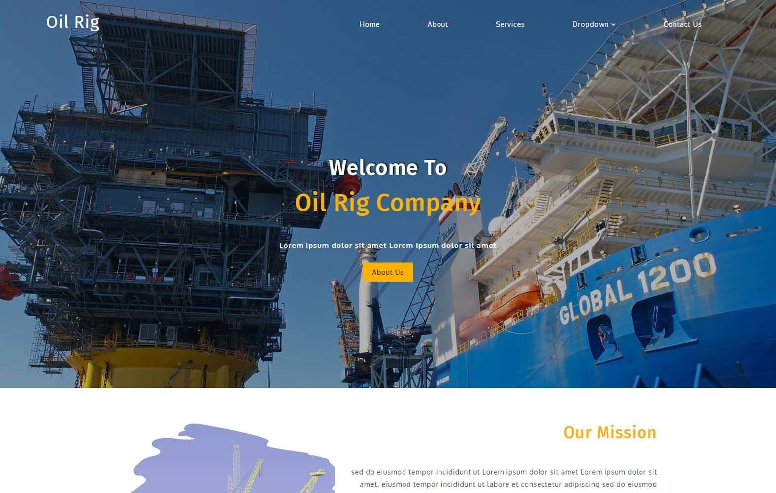 Oil Rig an Industrial Category Bootstrap Responsive Web Template Mobile website template Free