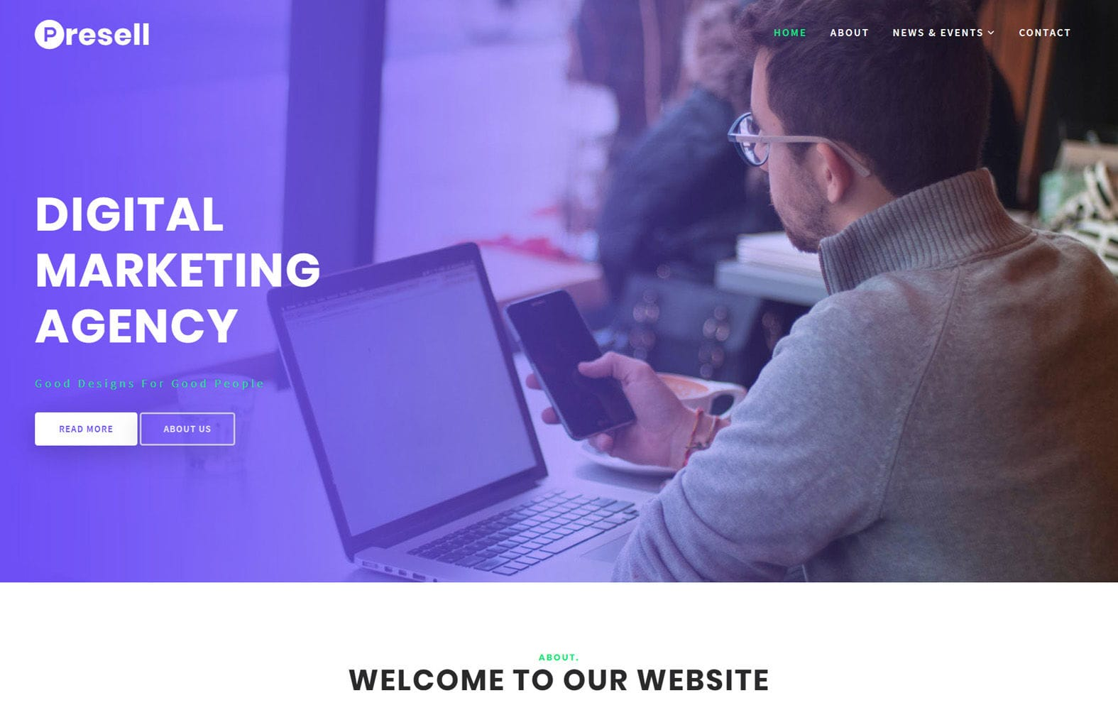 Presell Business Category Bootstrap Responsive Web Template Mobile website template Free