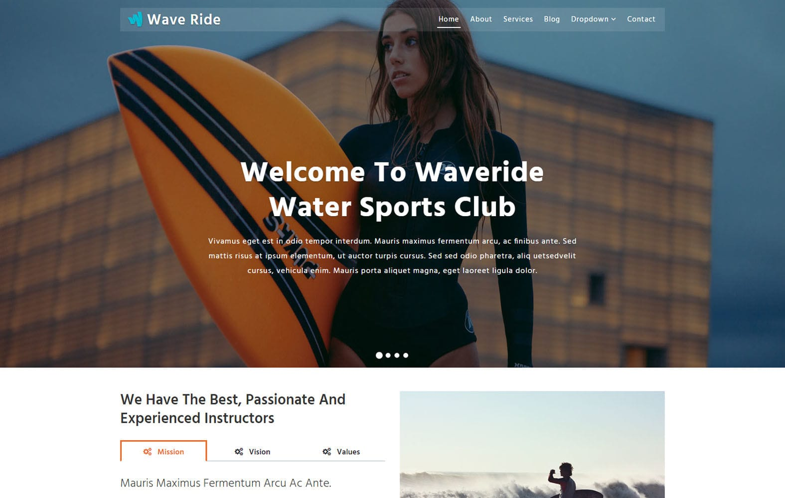 Wave Ride a Sports Category Bootstrap Responsive Web Template Mobile website template Free