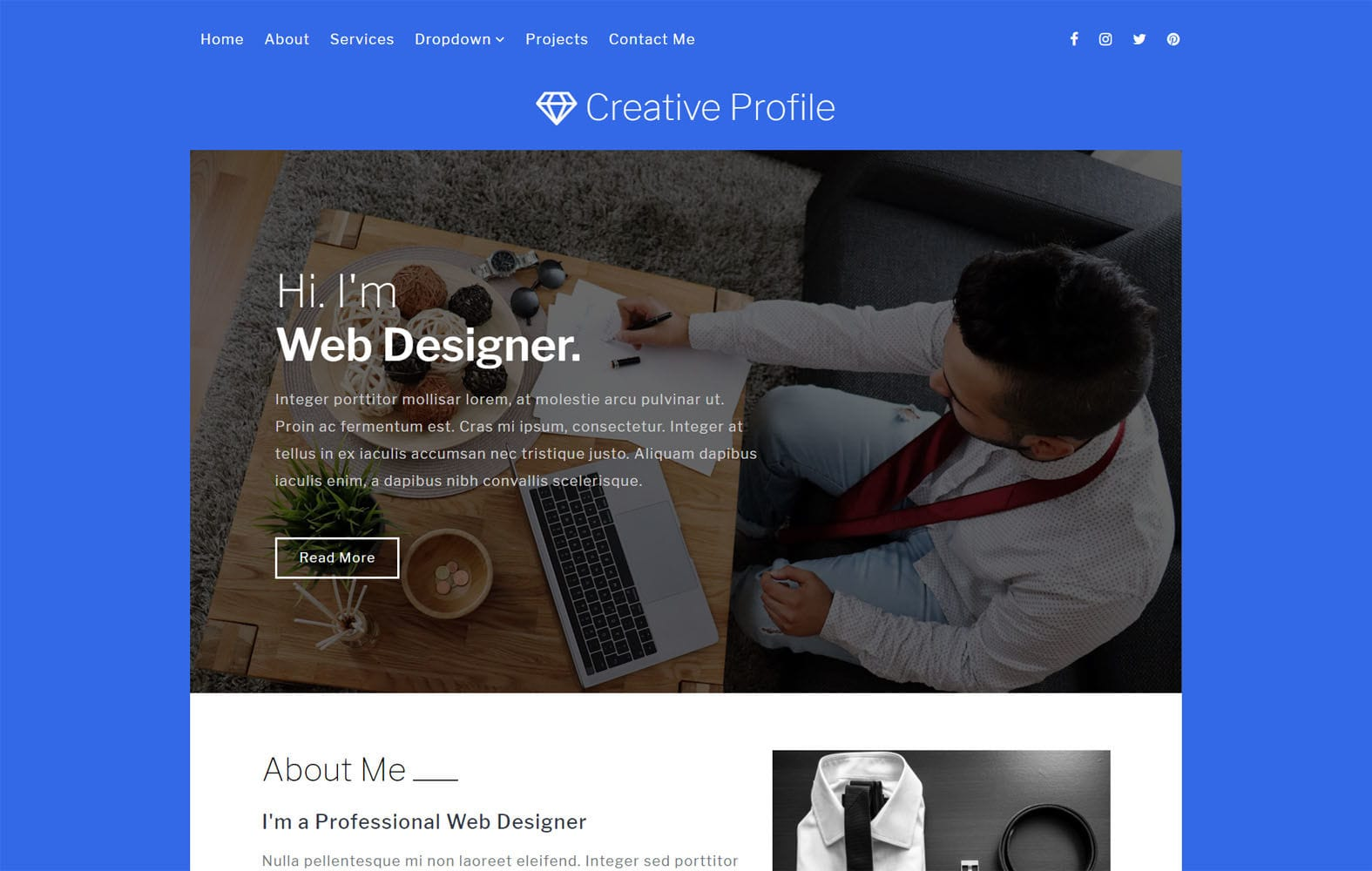 Creative Profile a Personal Category Bootstrap Responsive Web Template Mobile website template Free