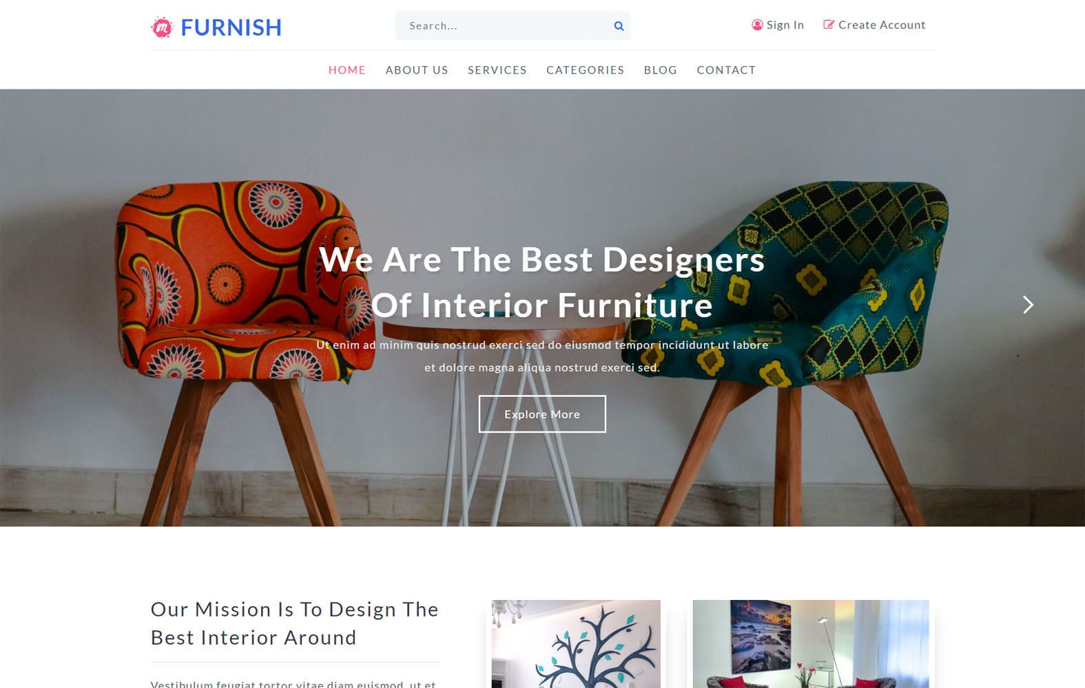 Furnish an Interior Category Bootstrap Responsive Web Template Mobile website template Free
