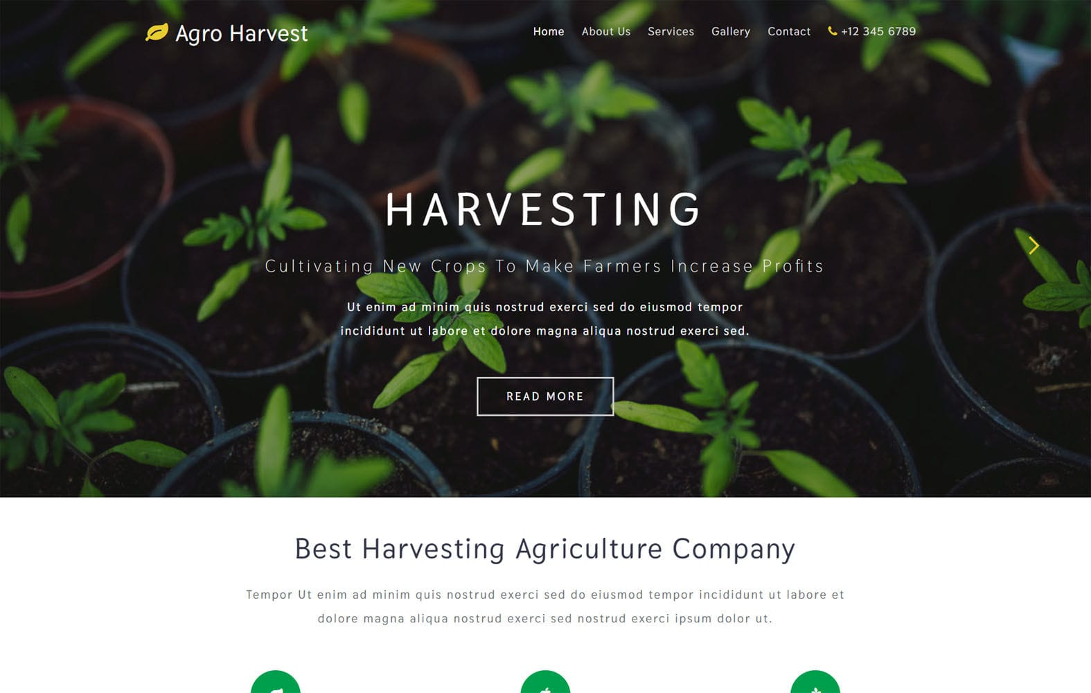 Agro Harvest – Agriculture Category Bootstrap Responsive Web Template Mobile website template Free