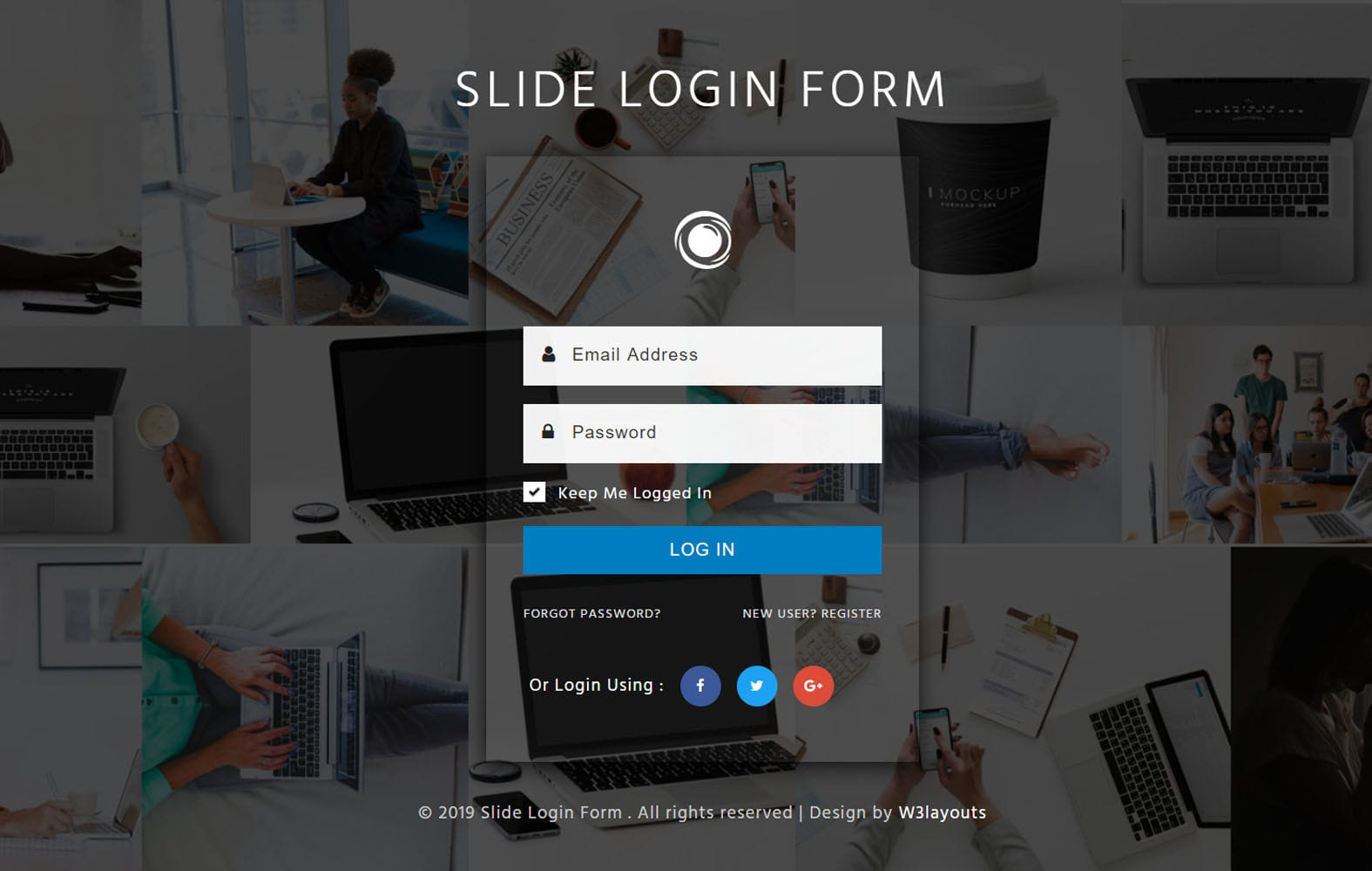 Slide Login Form Flat Responsive Widget Template Mobile website template Free