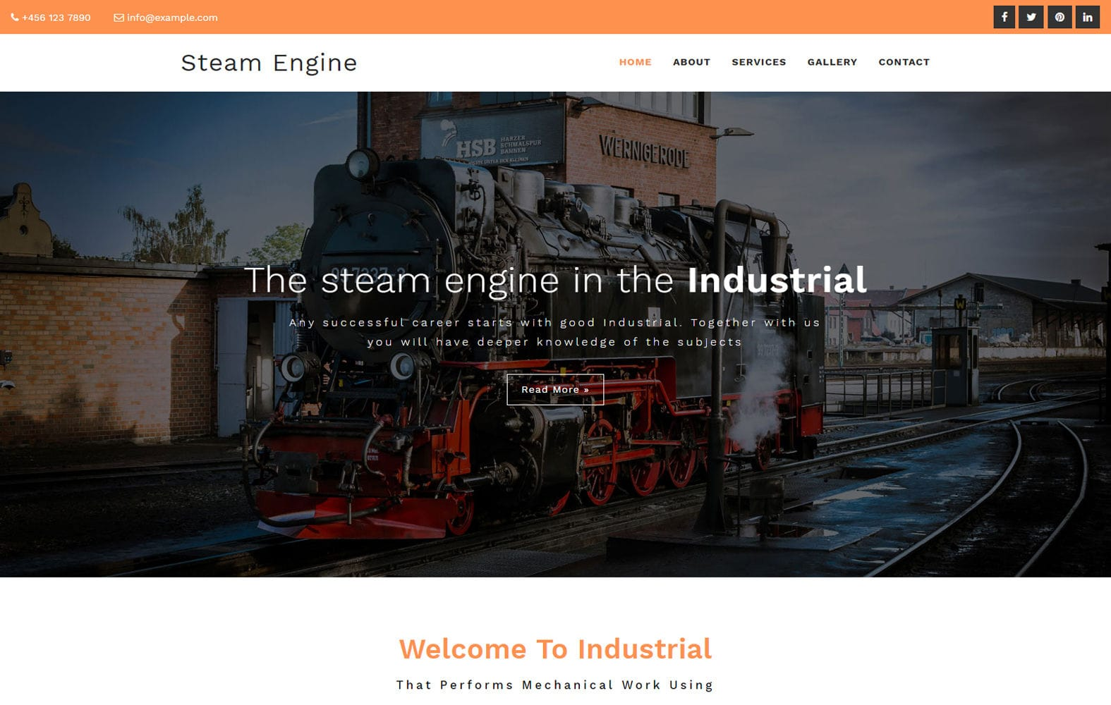 Steam Engine an Industrial Category Bootstrap Responsive Web Template Mobile website template Free