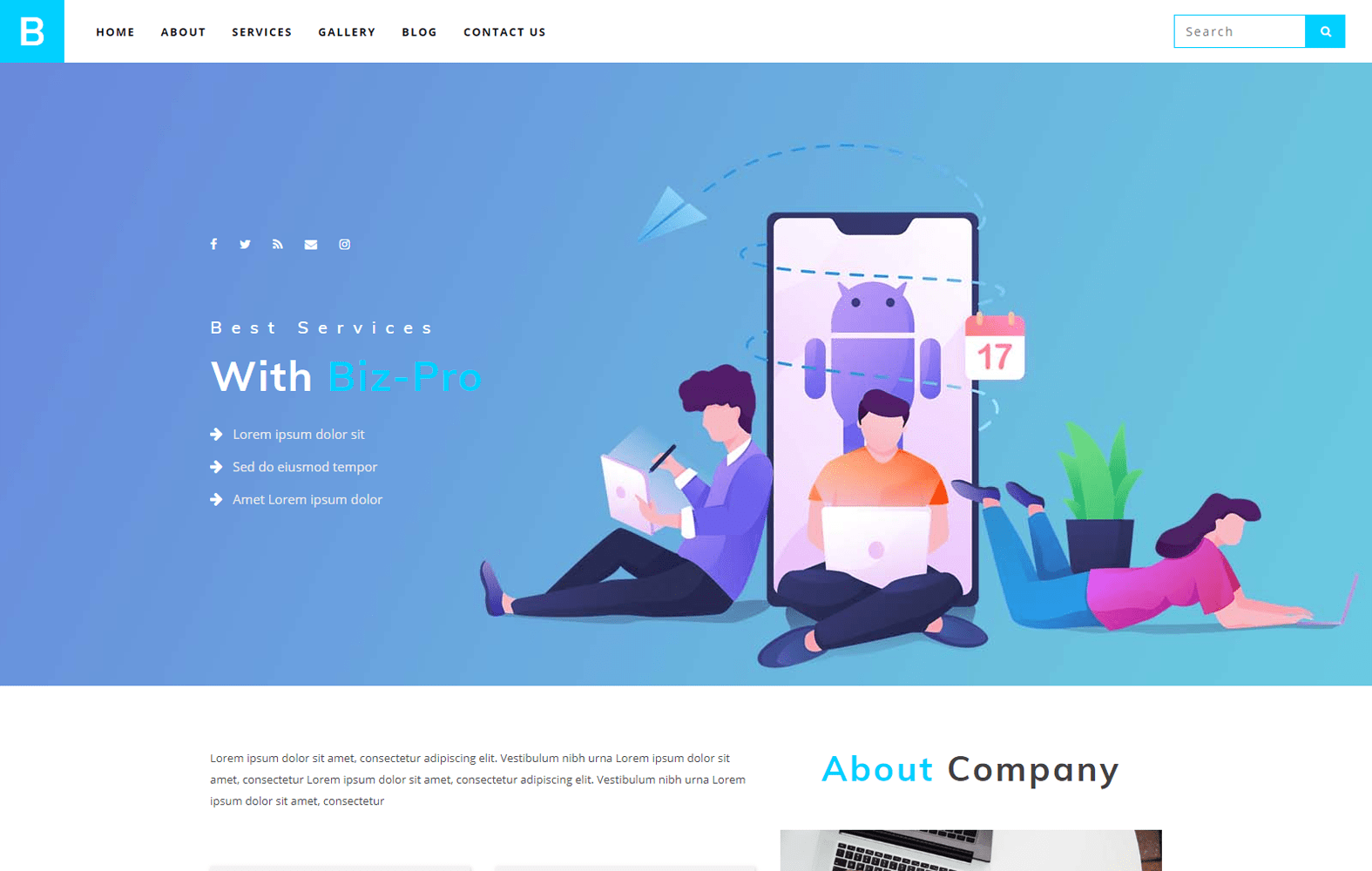Biz Pro a Corporate Category Bootstrap Responsive Web Template Mobile website template Free