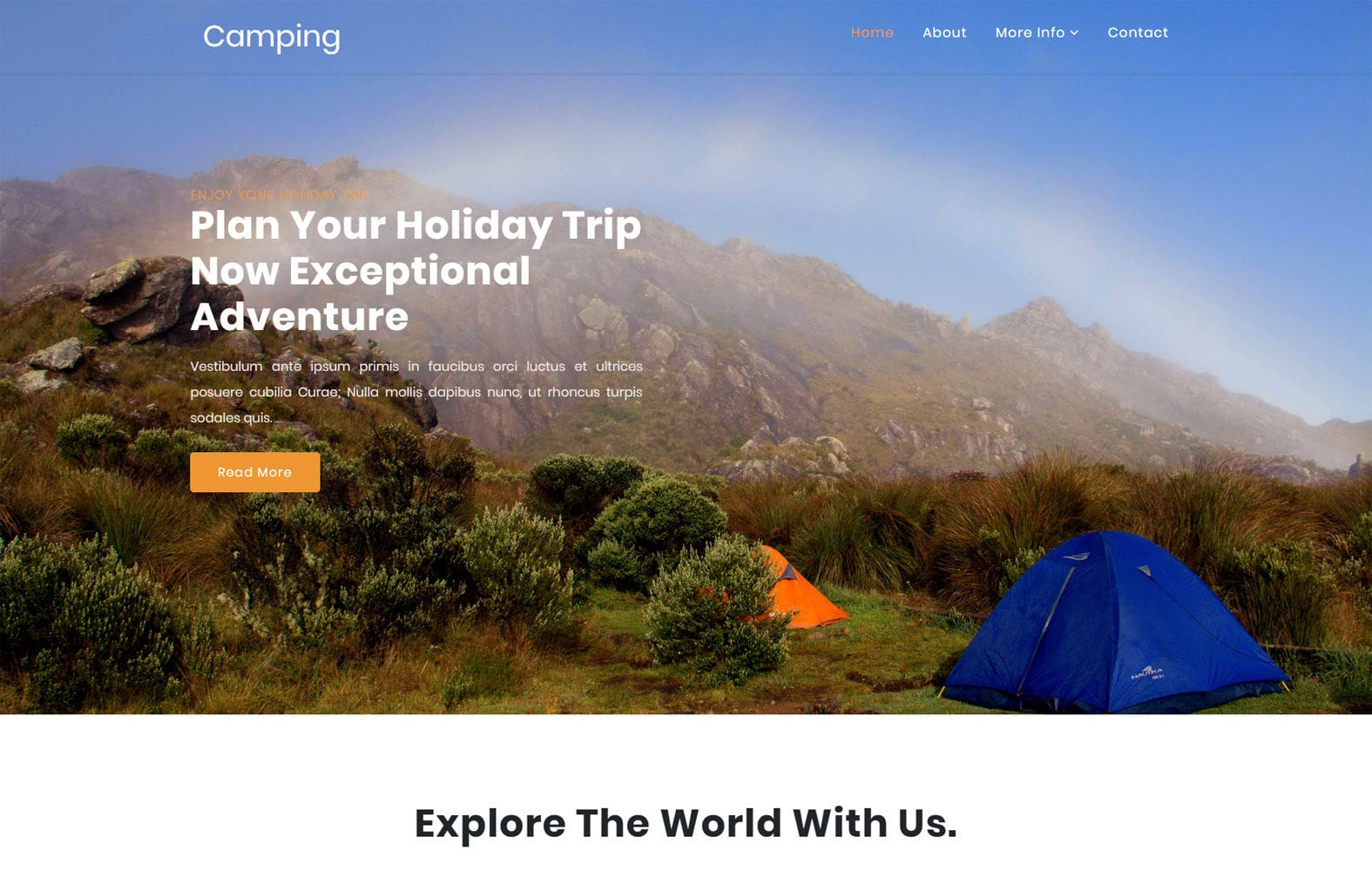 Camping a Travel Category Bootstrap Responsive Web Template Mobile website template Free