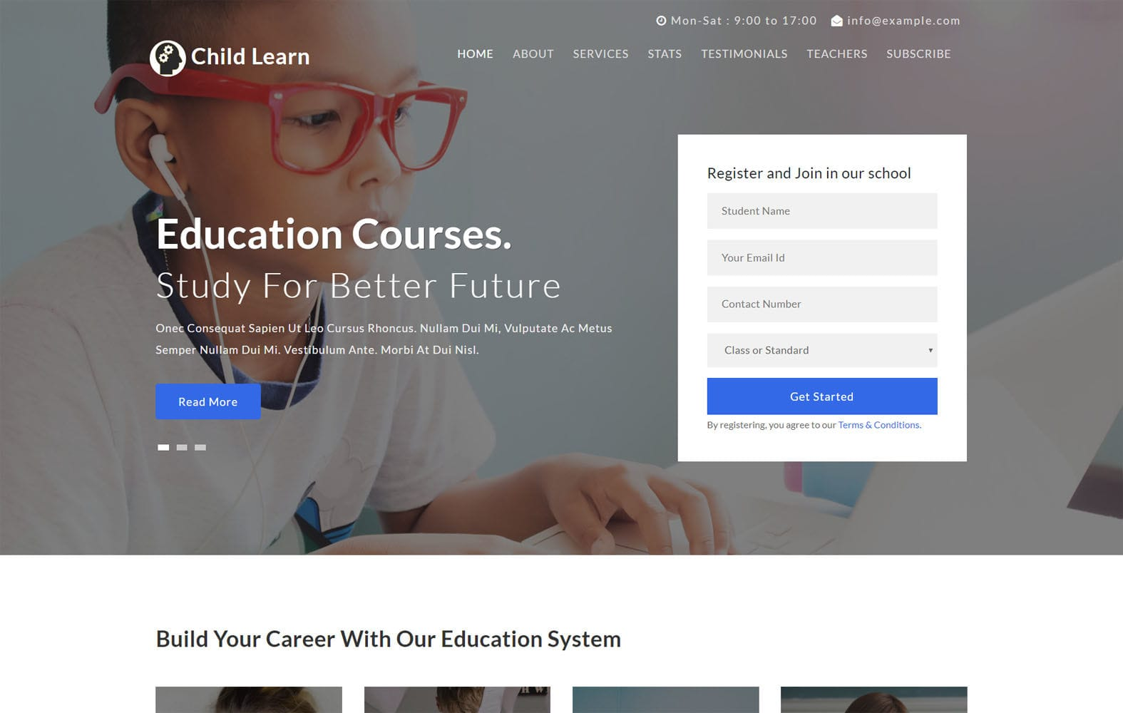 Child Learn an Education Category Flat Bootstrap Responsive Web Template Mobile website template Free