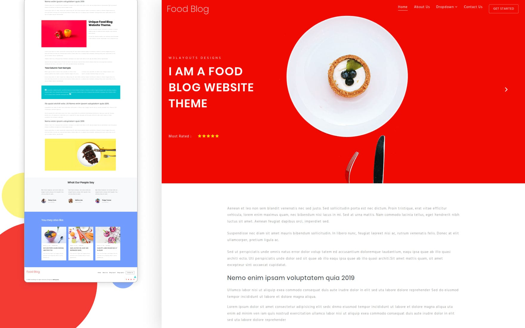 Food Blog – Blogging Category Bootstrap Responsive Website Template