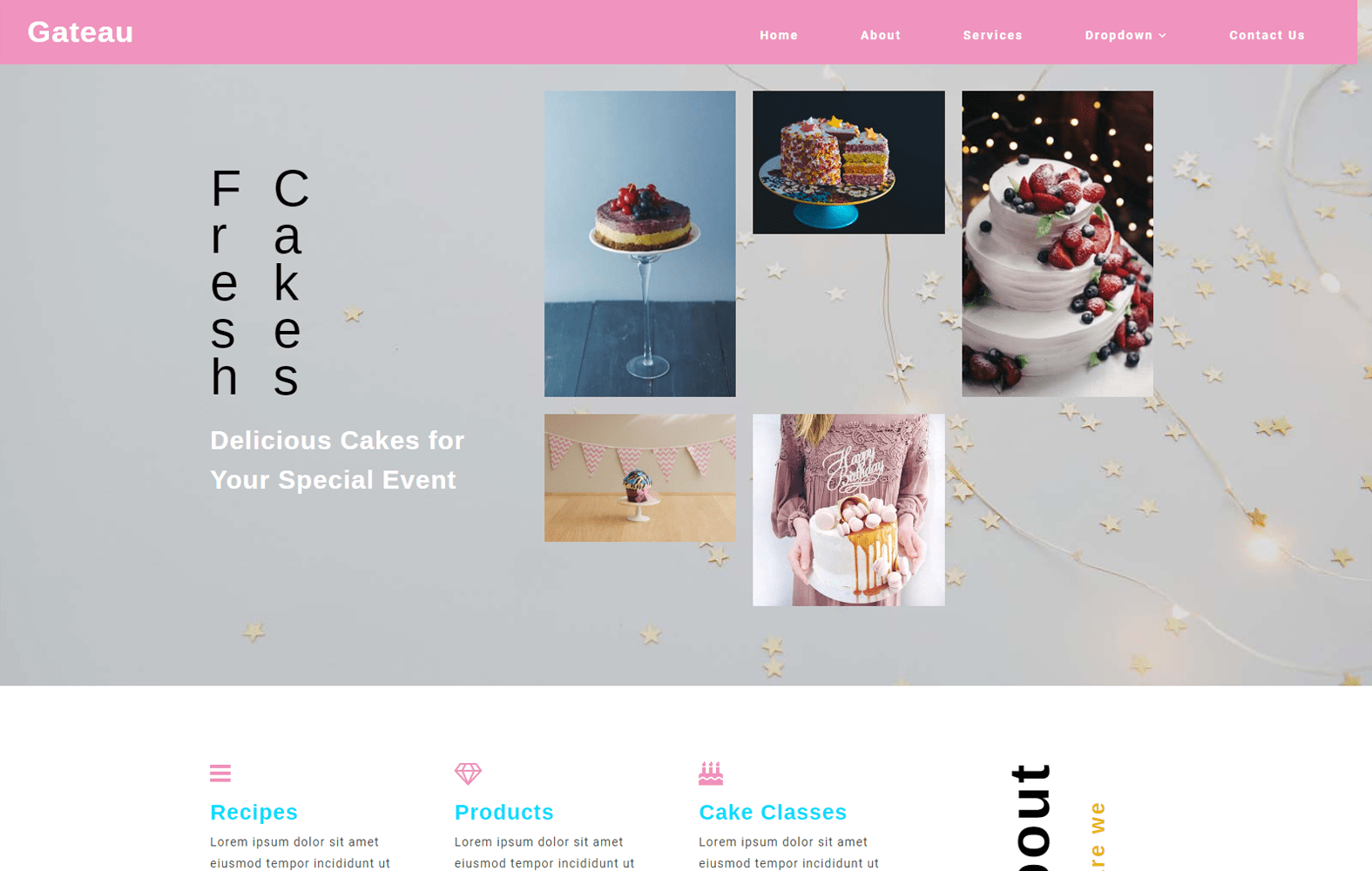 Gateau a Restaurant Category Bootstrap Responsive Web Template Mobile website template Free