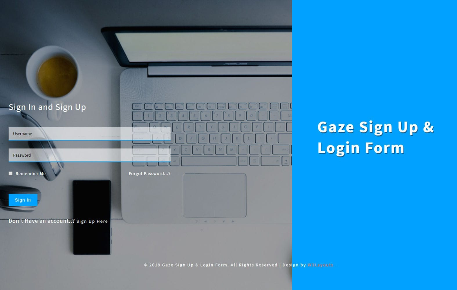 Gaze Sign up and Login Form a Flat Responsive Widget Template Mobile website template Free