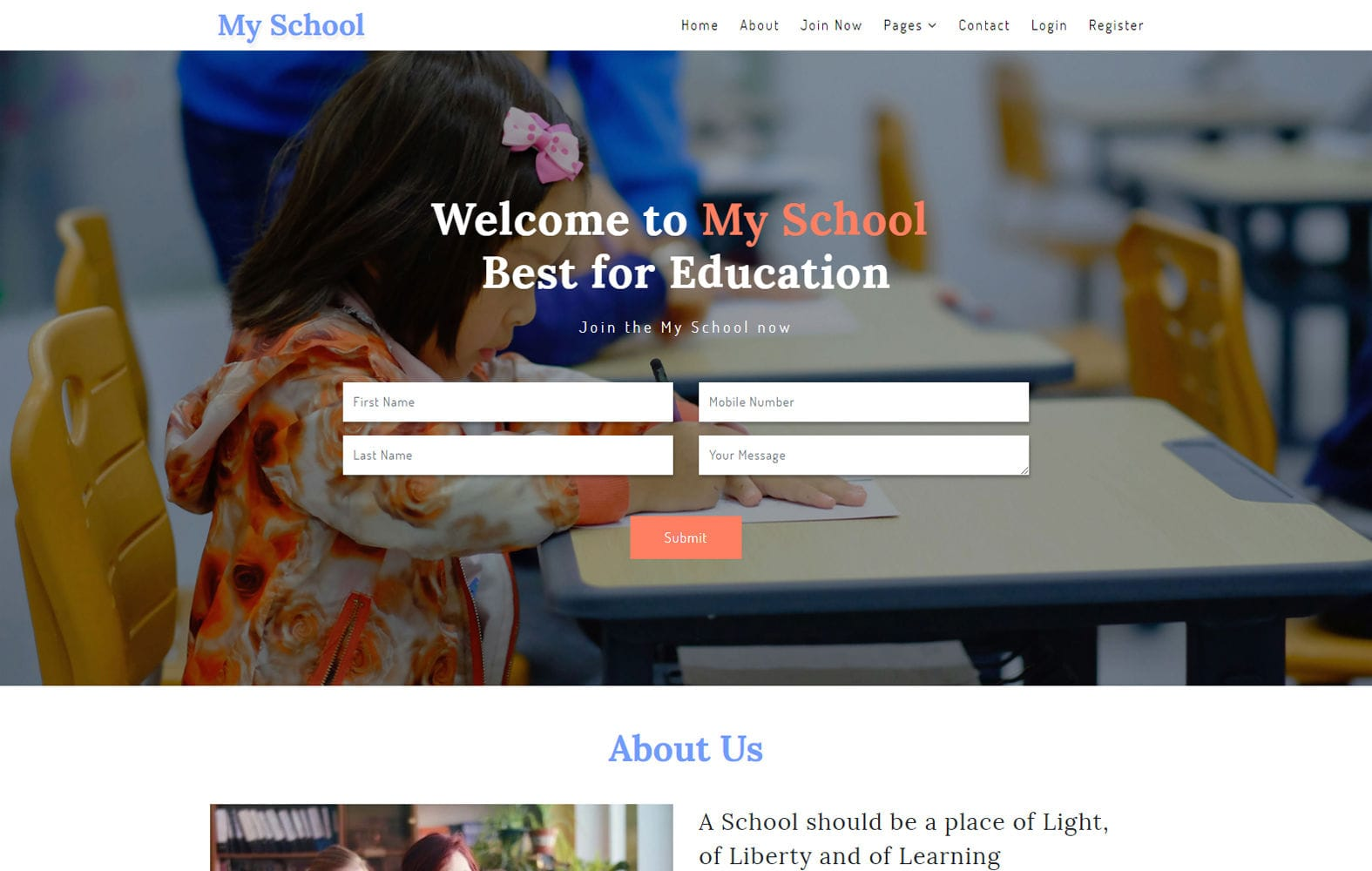 My School – Education Category Bootstrap Responsive Web Template Mobile website template Free