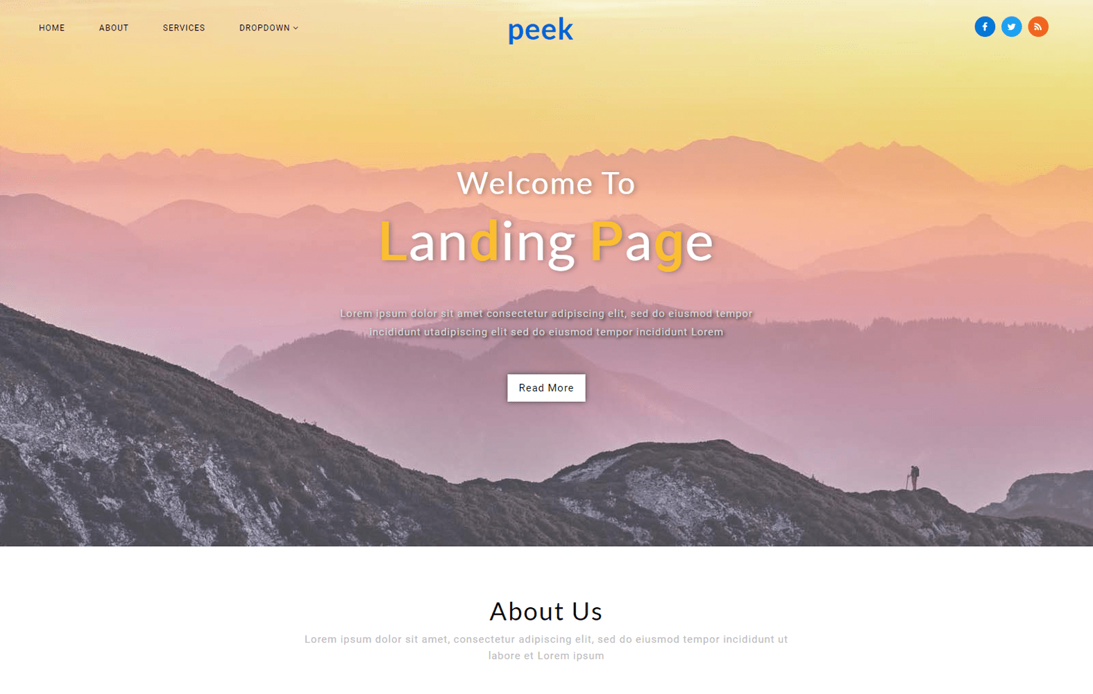 Peek a Landing Page Bootstrap Responsive Web Template Mobile website template Free