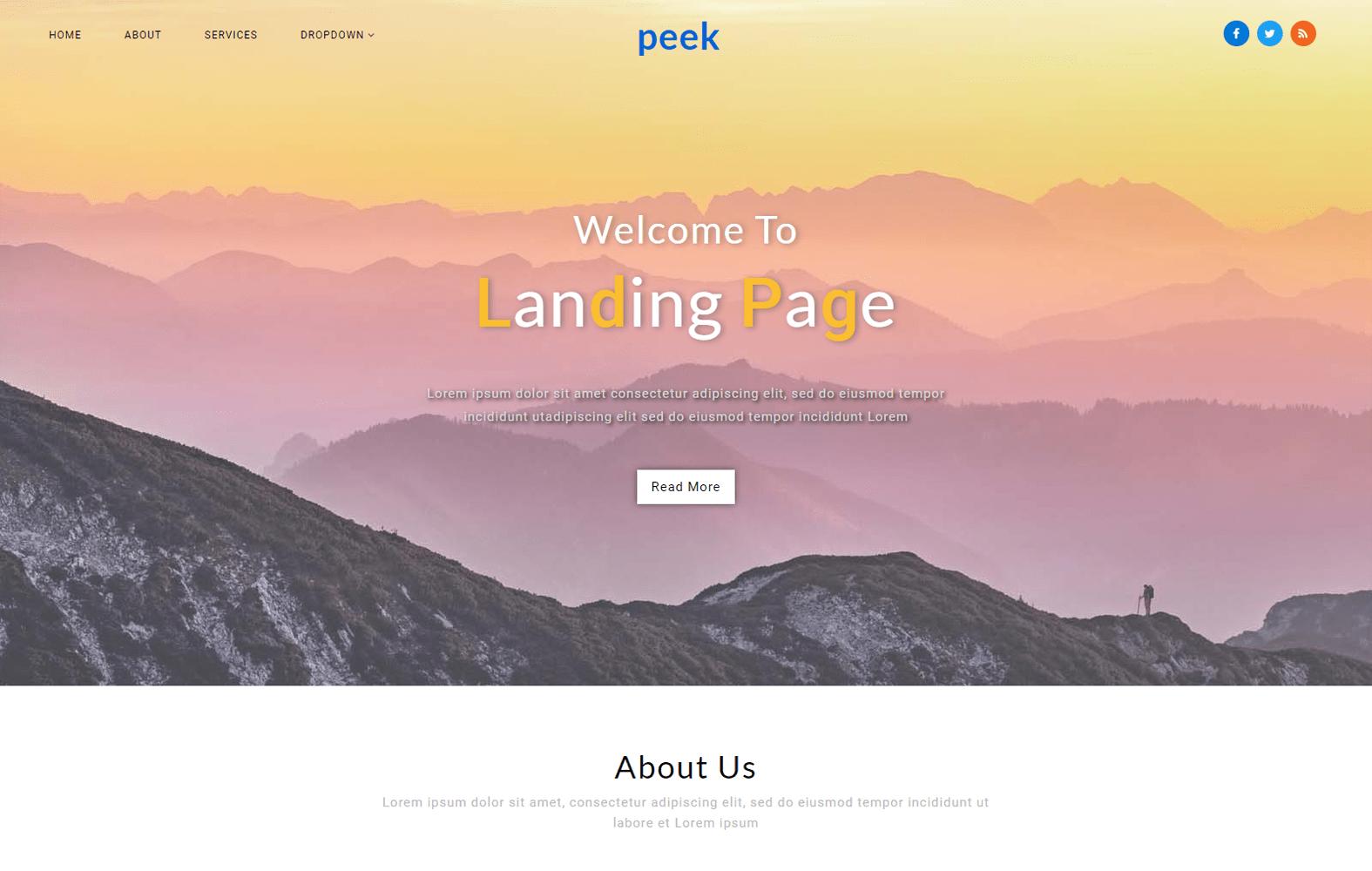 Peek a Landing Page Bootstrap Responsive Web Template