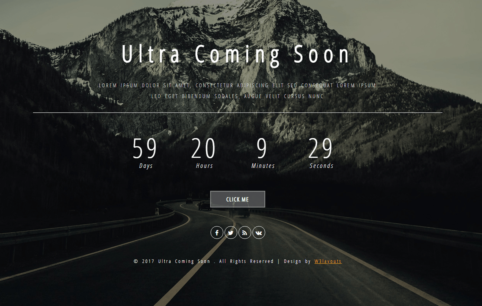 Ultra Coming Soon Flat Responsive Widget Template Mobile website template Free