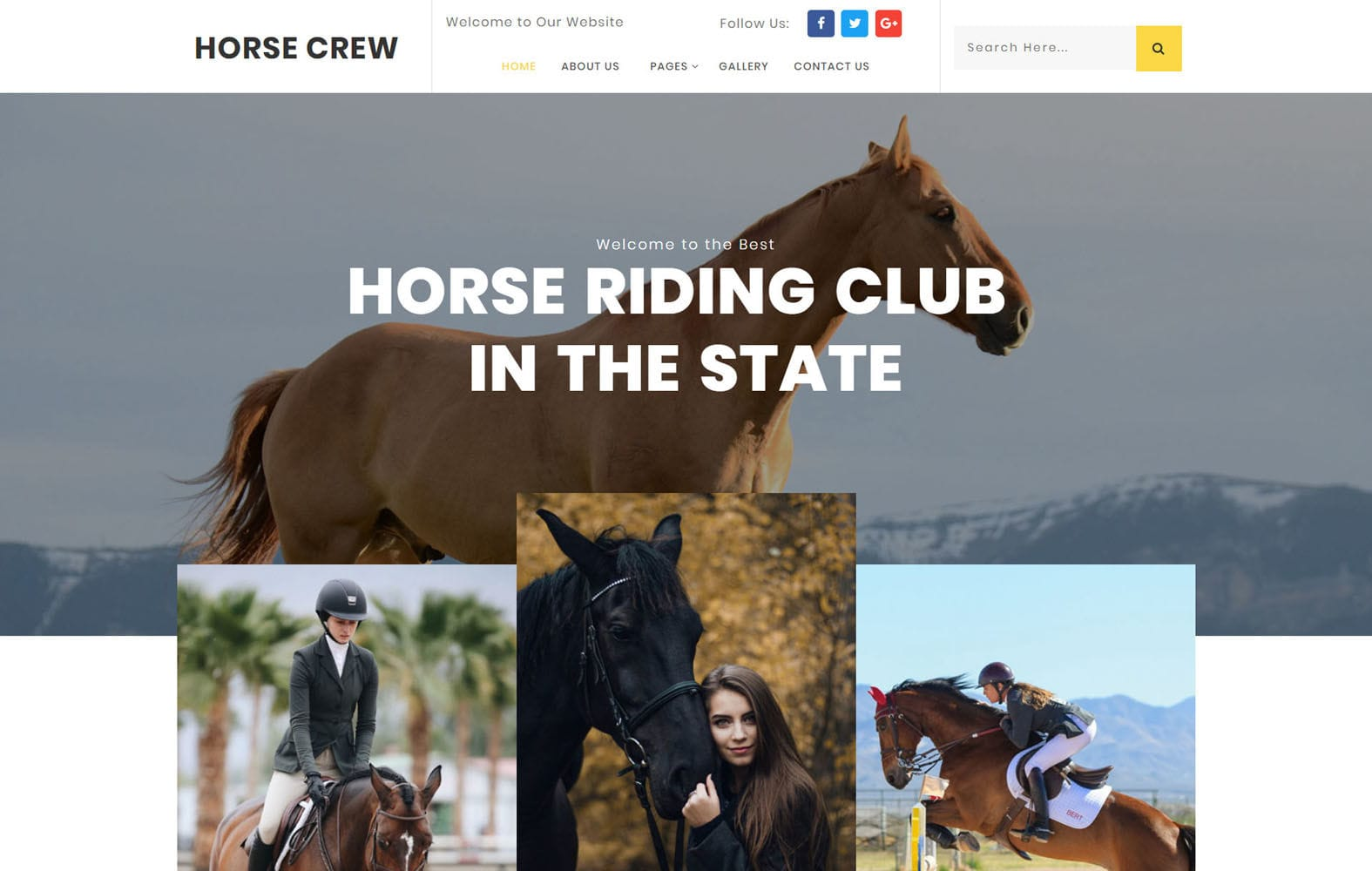 Horse Crew Sports Category Bootstrap Responsive Website Template Mobile website template Free