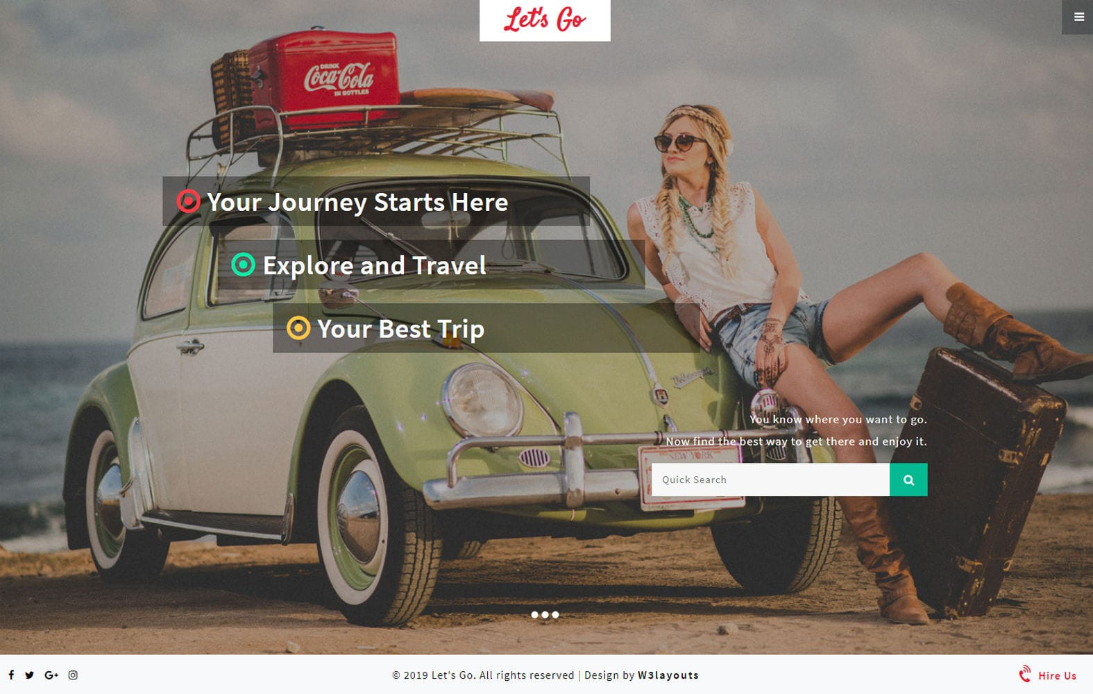 Lets Go a Travel Category Bootstrap Responsive Web Template Mobile website template Free