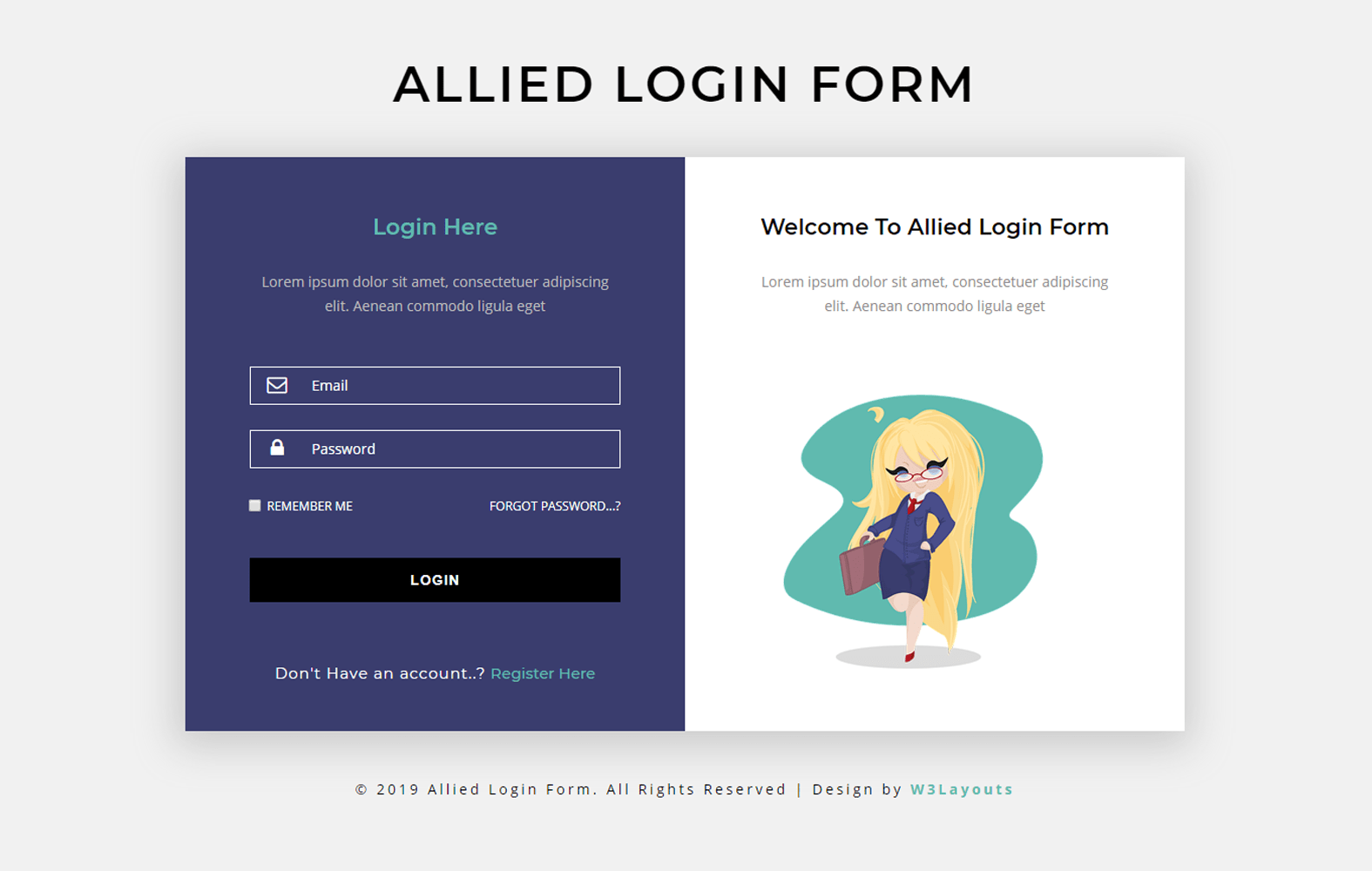 Allied Login Form a Flat Responsive Widget Template Mobile website template Free