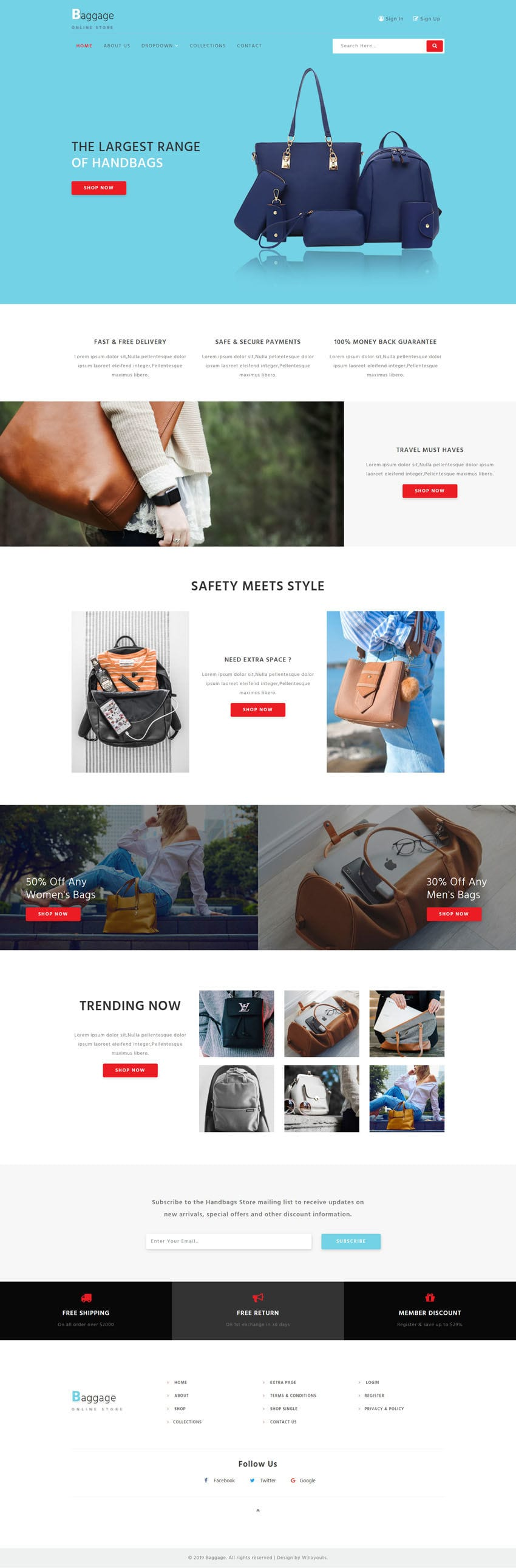 Baggage, an E-commerce category website template designed for online stores selling luxury bags.