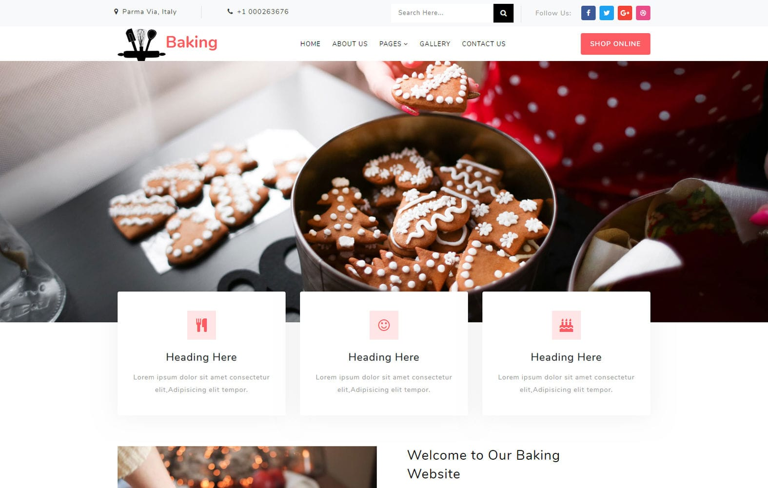 Baking a Restaurants Category Bootstrap Responsive Web Template Mobile website template Free