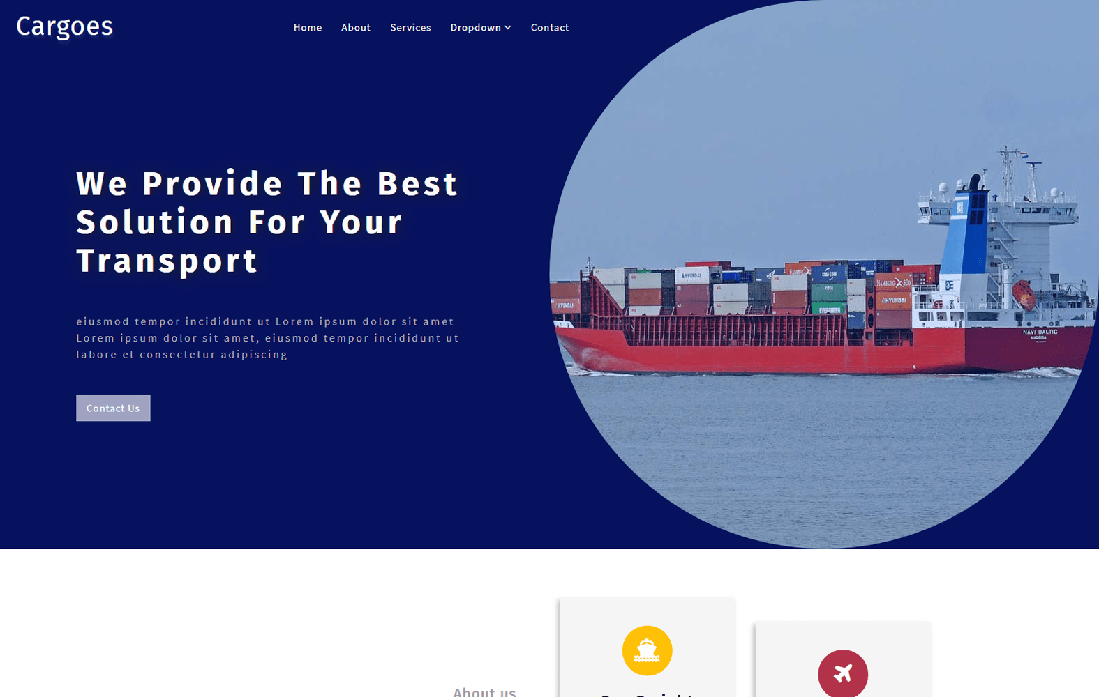 Cargoes an Industrial Category Bootstrap Responsive Web Template Mobile website template Free