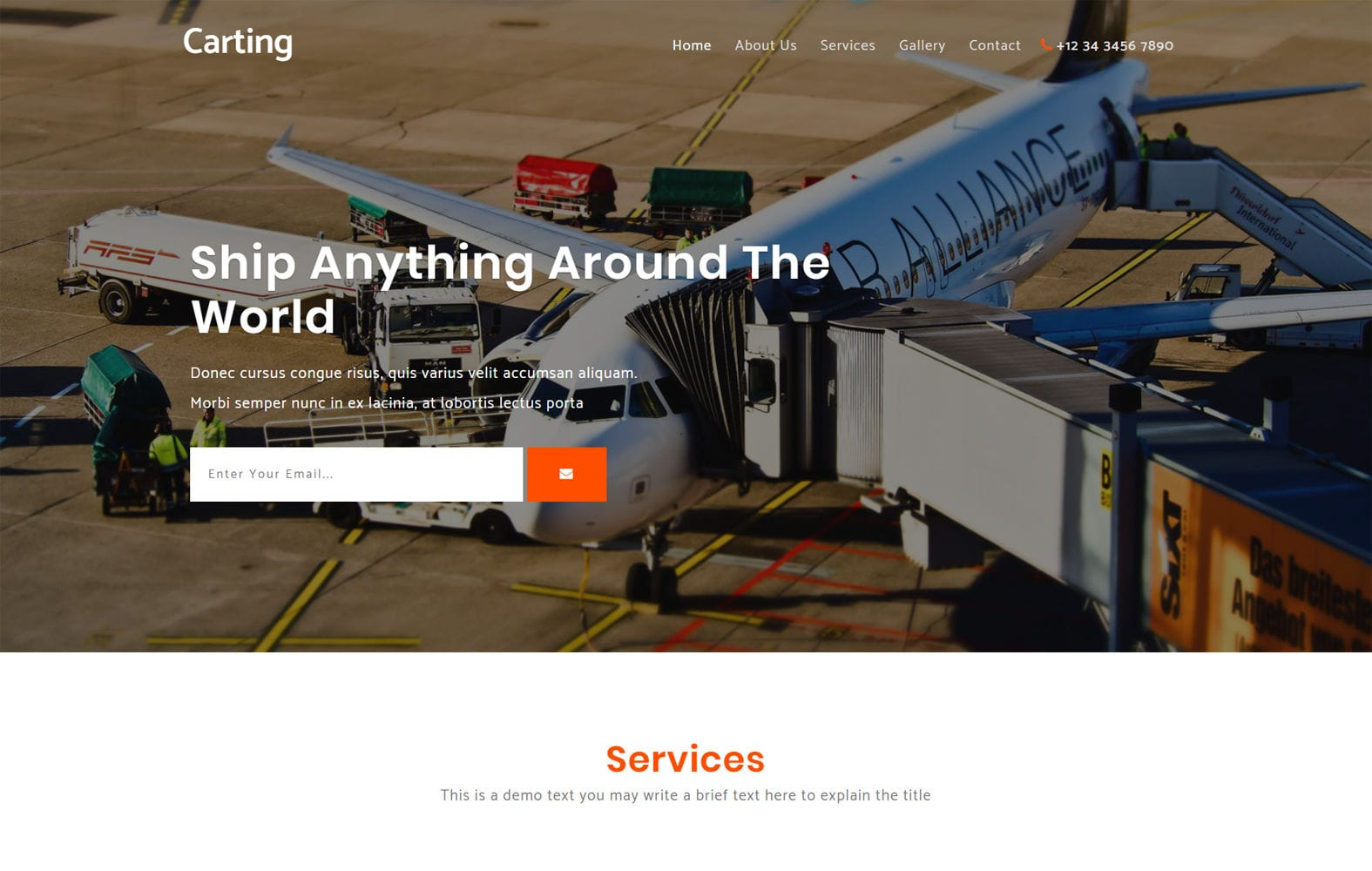 Carting a Transport Category Bootstrap Responsive Web Template