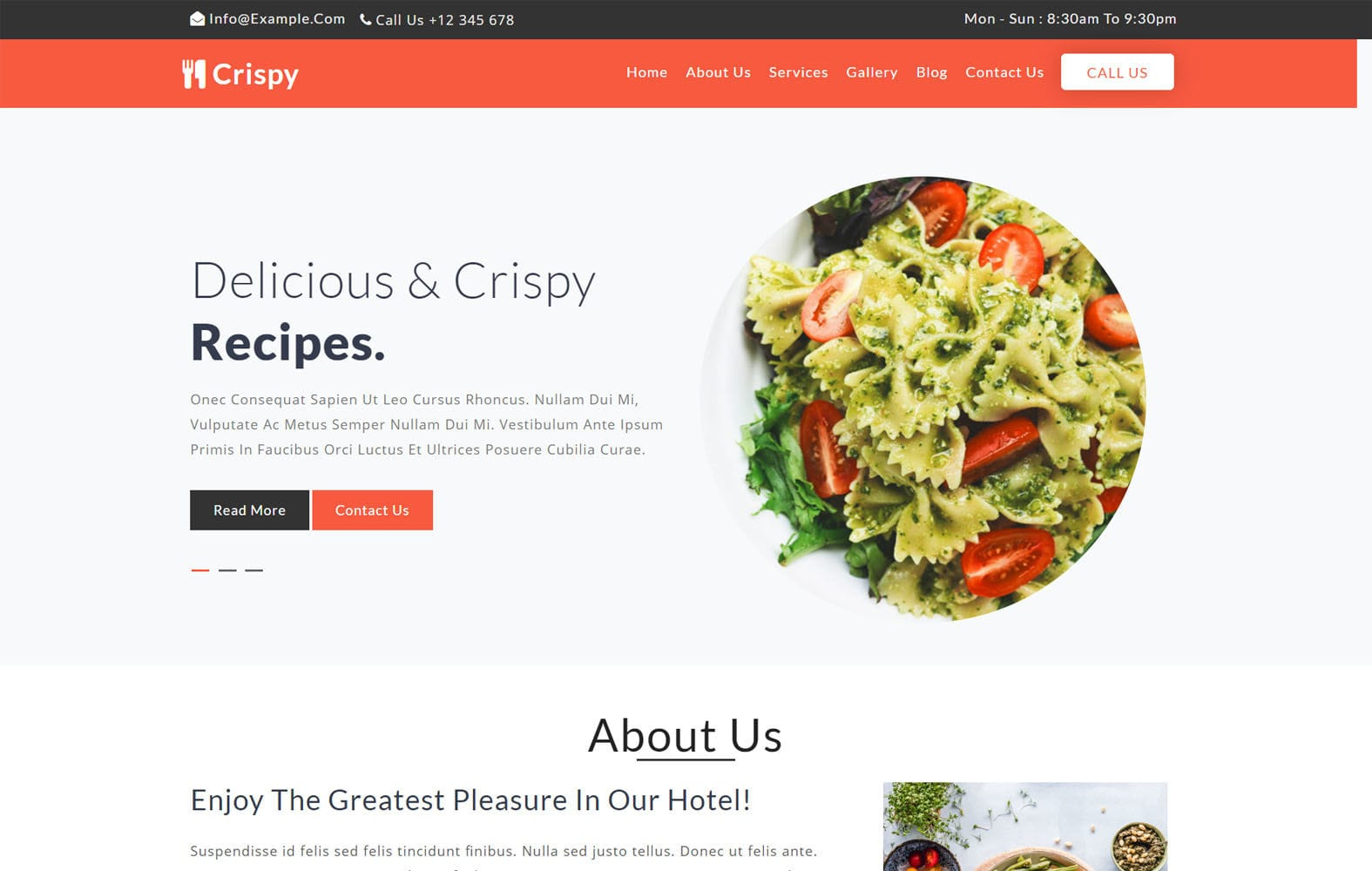 Crispy Restaurant Category Flat Bootstrap Responsive Website Template Mobile website template Free